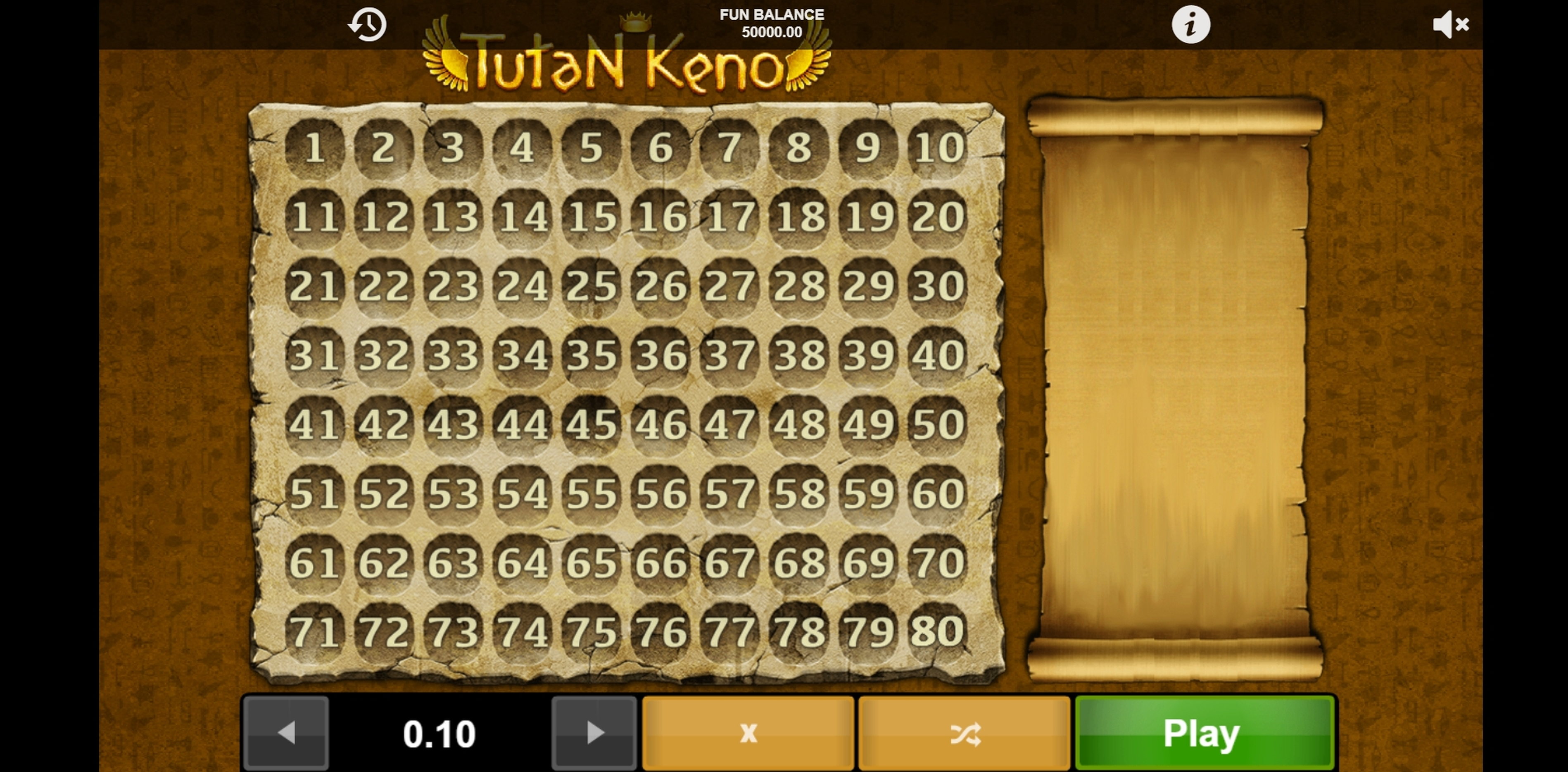 Reels in Tutan Keno Slot Game by 1x2 Gaming