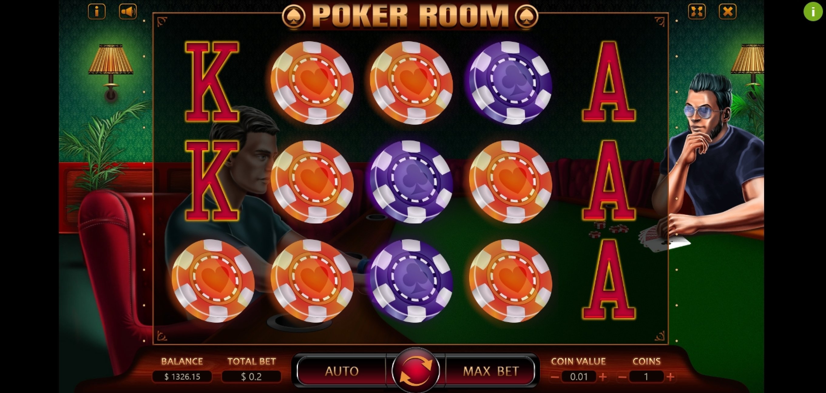 Reels in Poker Room Slot Game by Charismatic