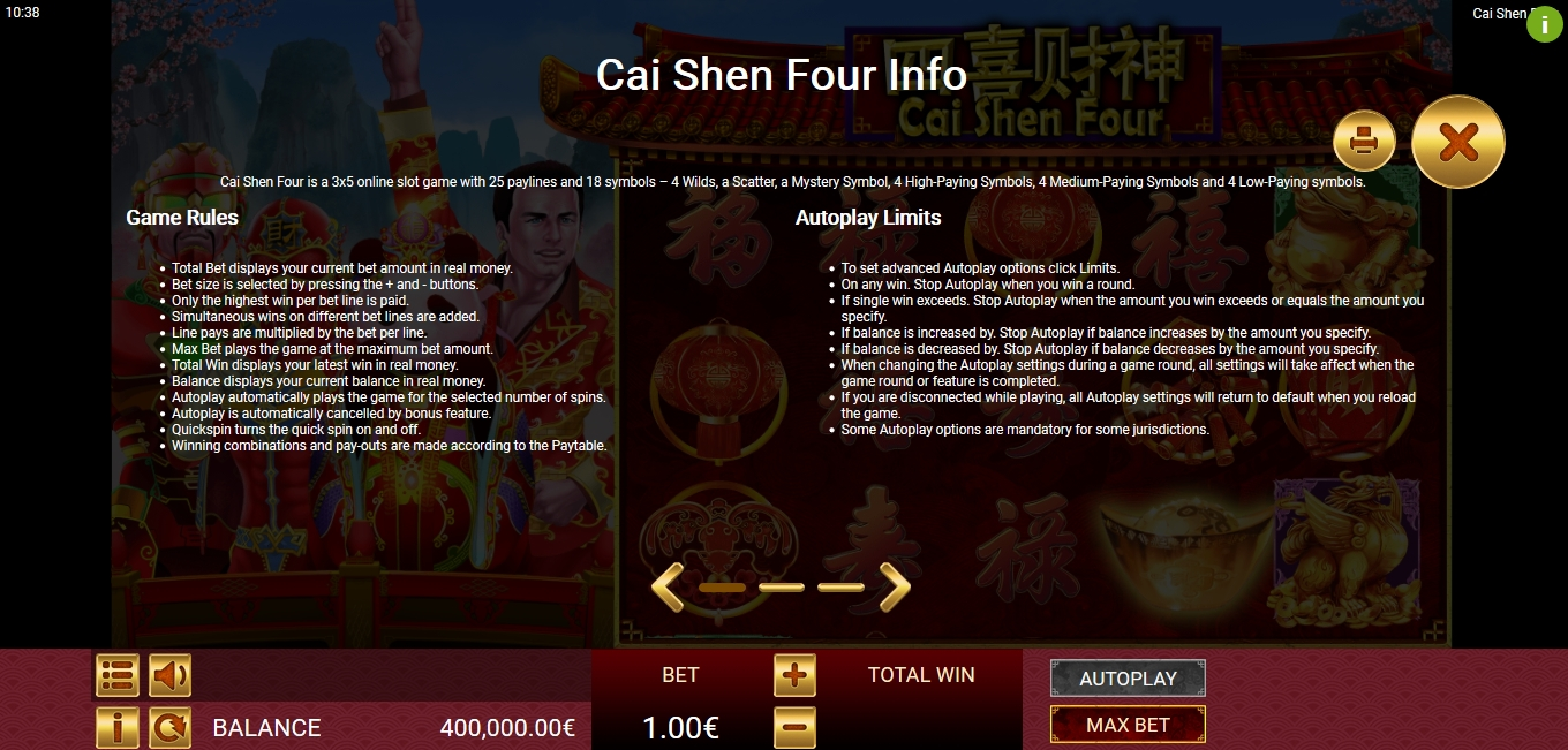 Info of Cai Shen Four Slot Game by Gamatron