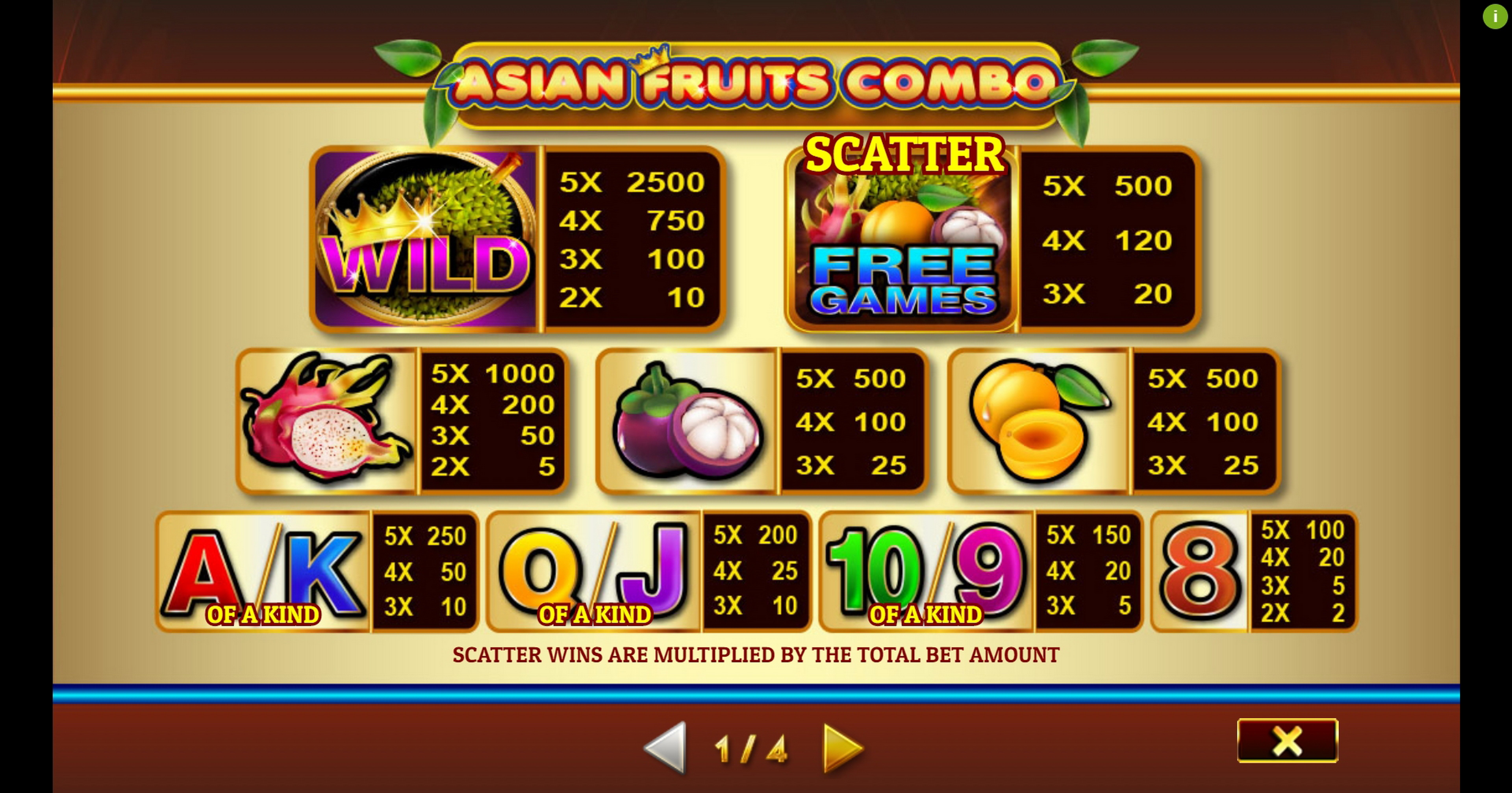 Reels in Asian Fruit Combo Slot Game by Givme Games