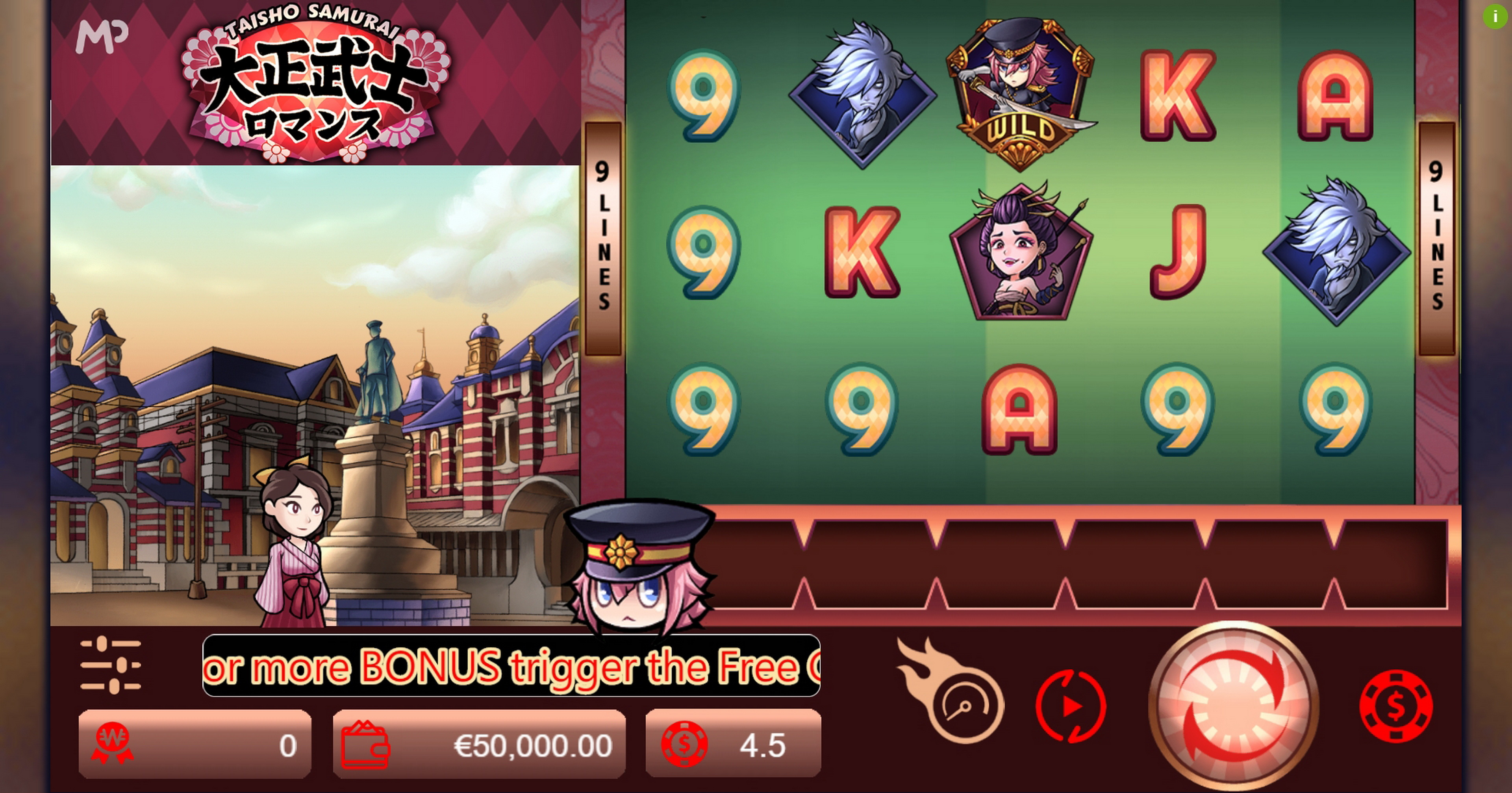 Reels in Taisho Samurai Slot Game by Manna Play