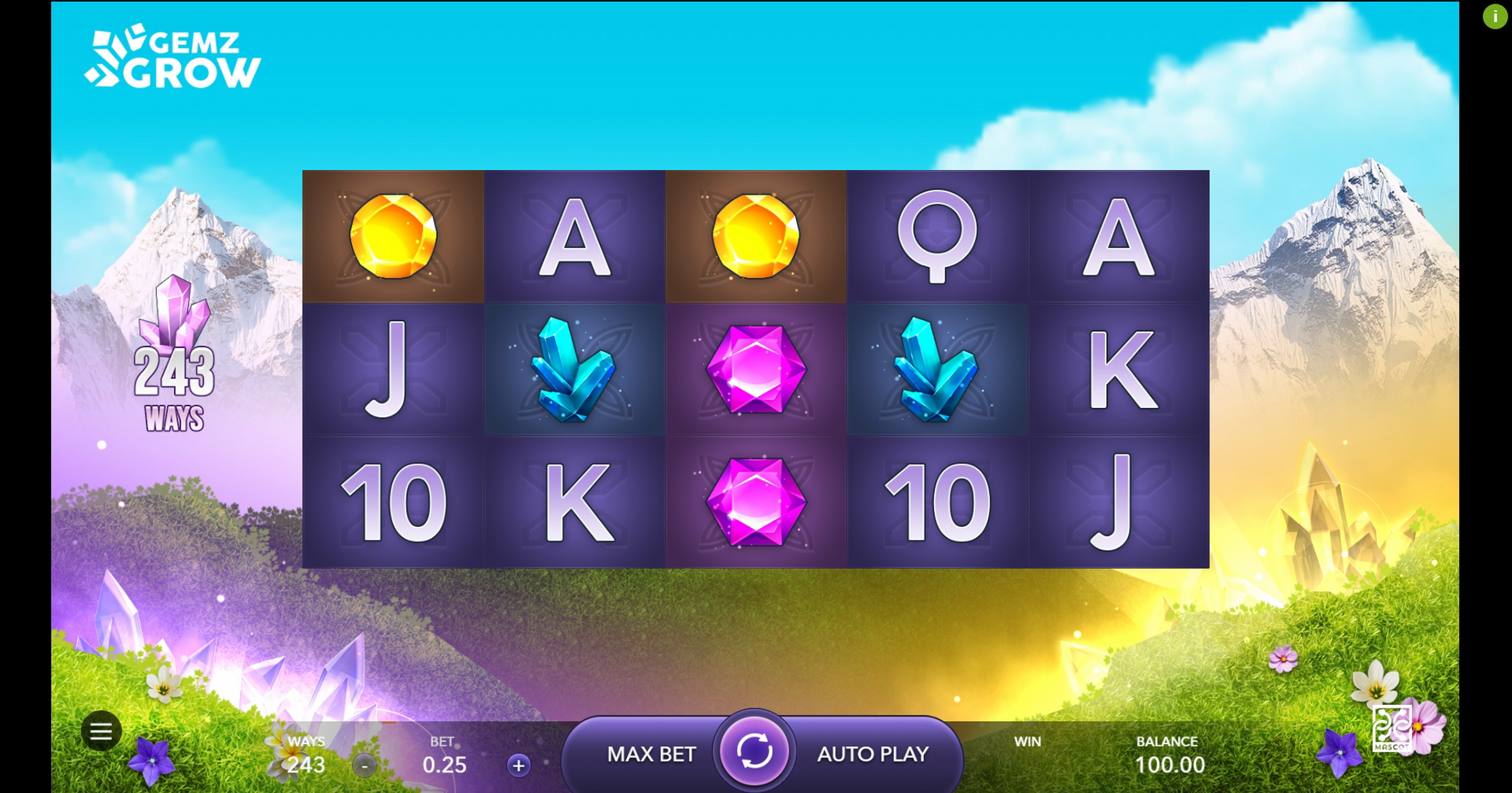Reels in Gemz Grow Slot Game by Mascot Gaming