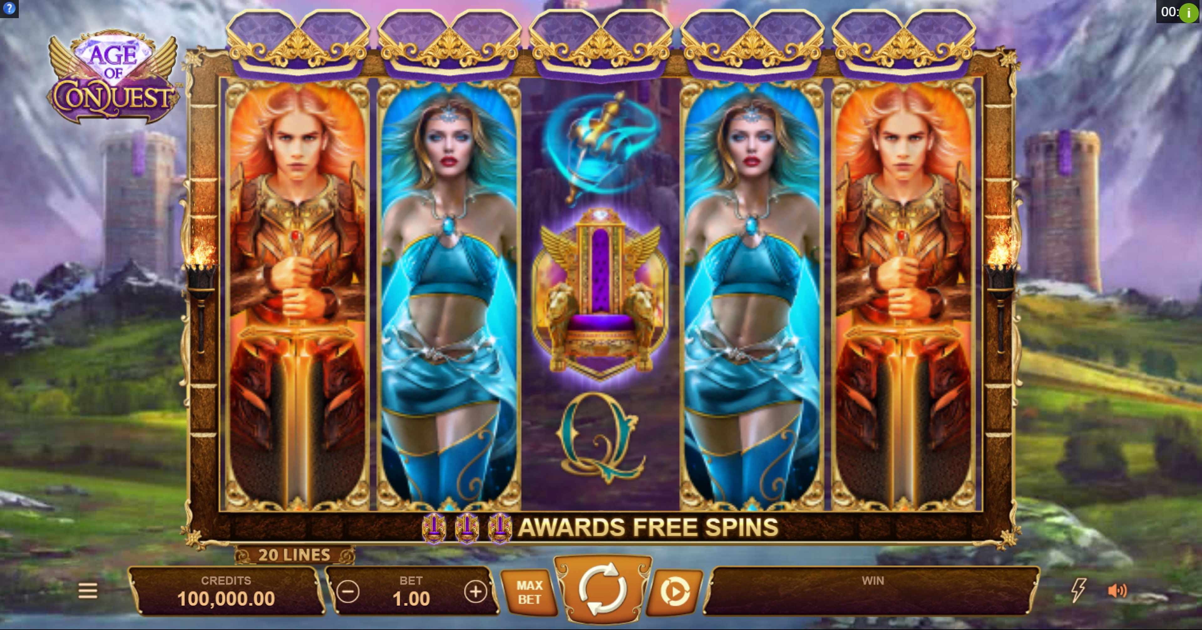 Reels in Age of Conquest Slot Game by Neon Valley Studios