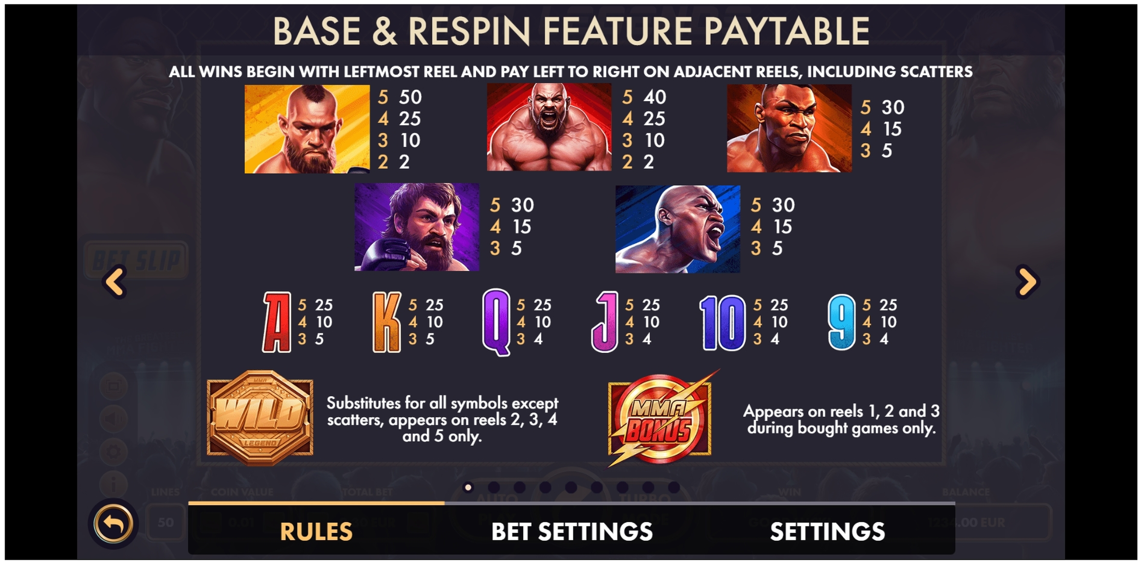 Info of MMA Legends Slot Game by NetGame