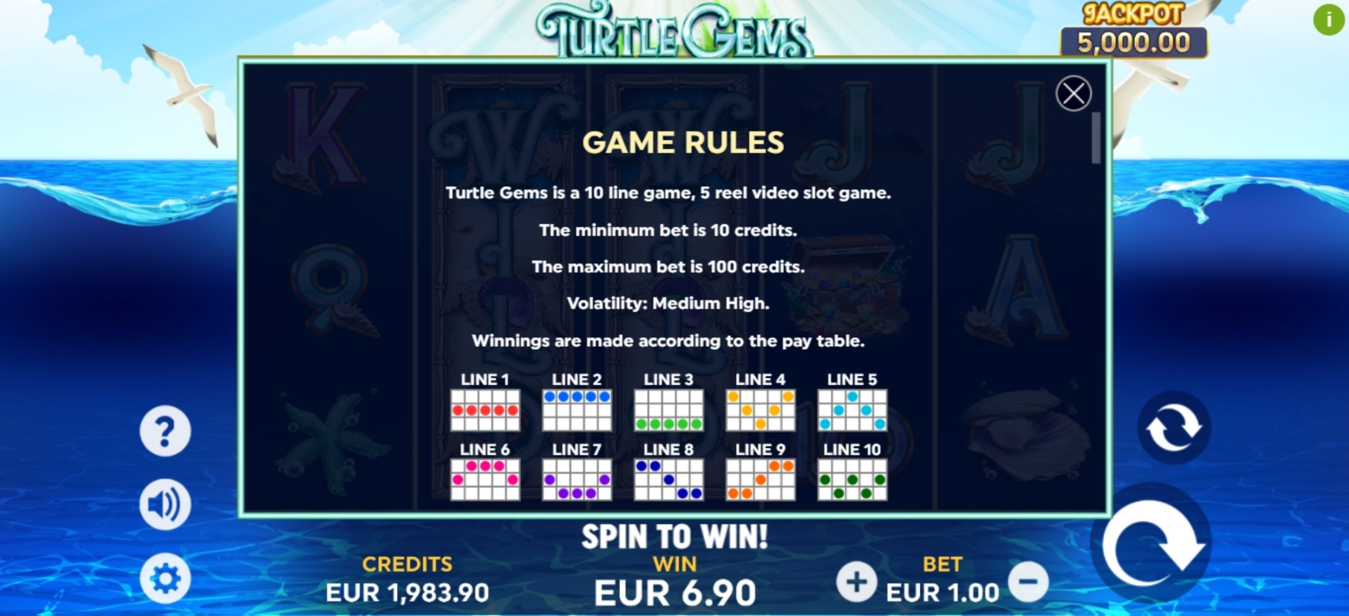 Info of Turtle Gems Slot Game by Playlogics