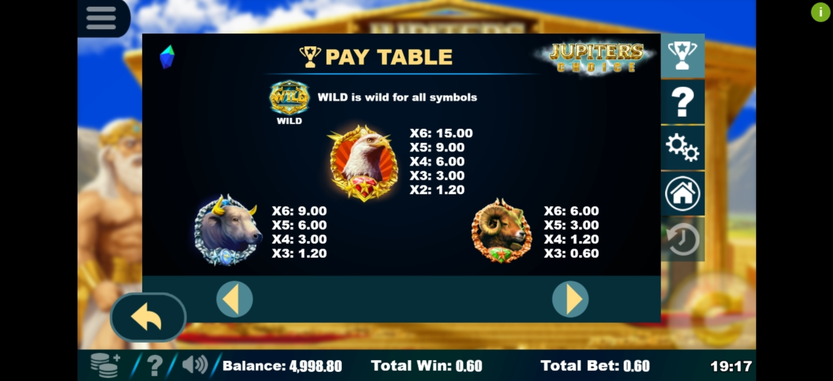 Info of Jupiter's Choice Slot Game by Sapphire Gaming