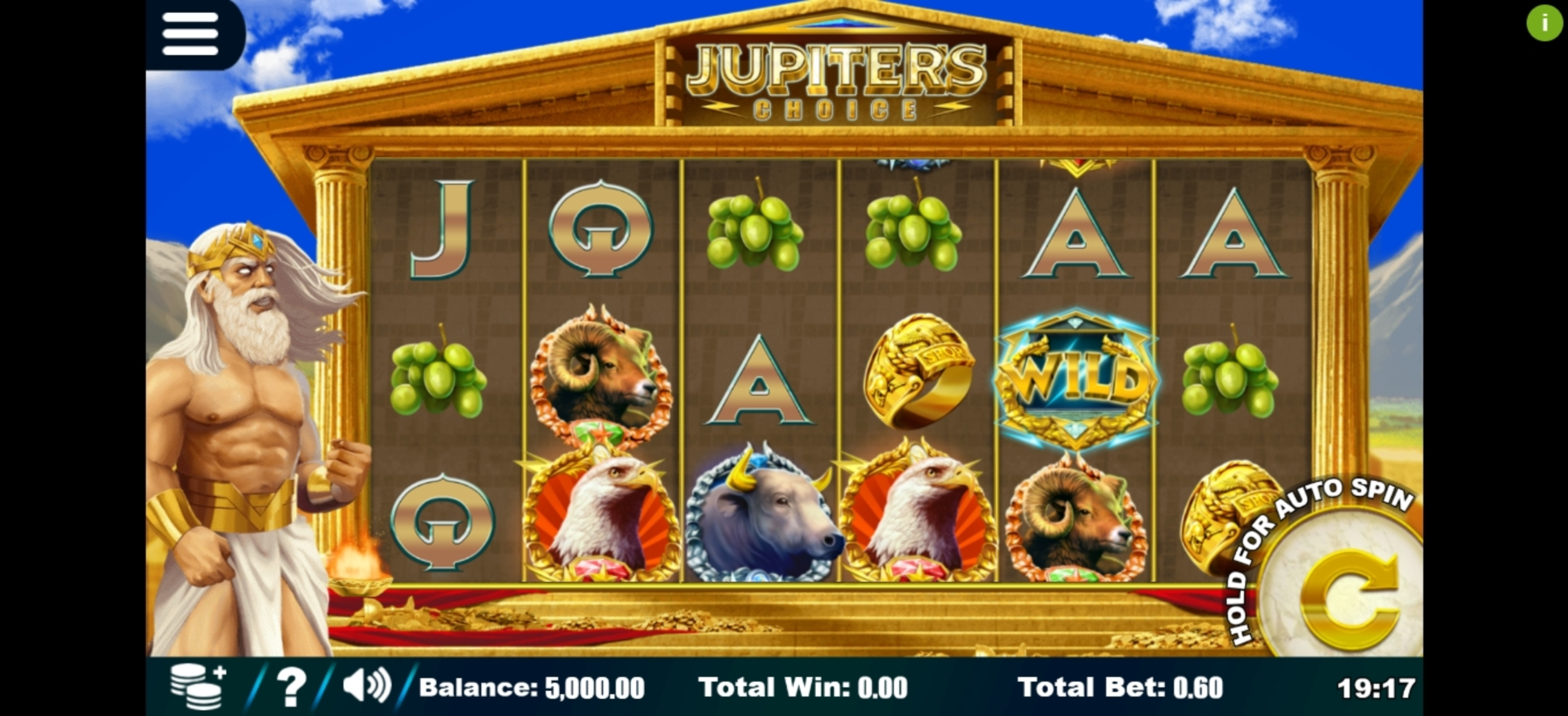 Reels in Jupiter's Choice Slot Game by Sapphire Gaming