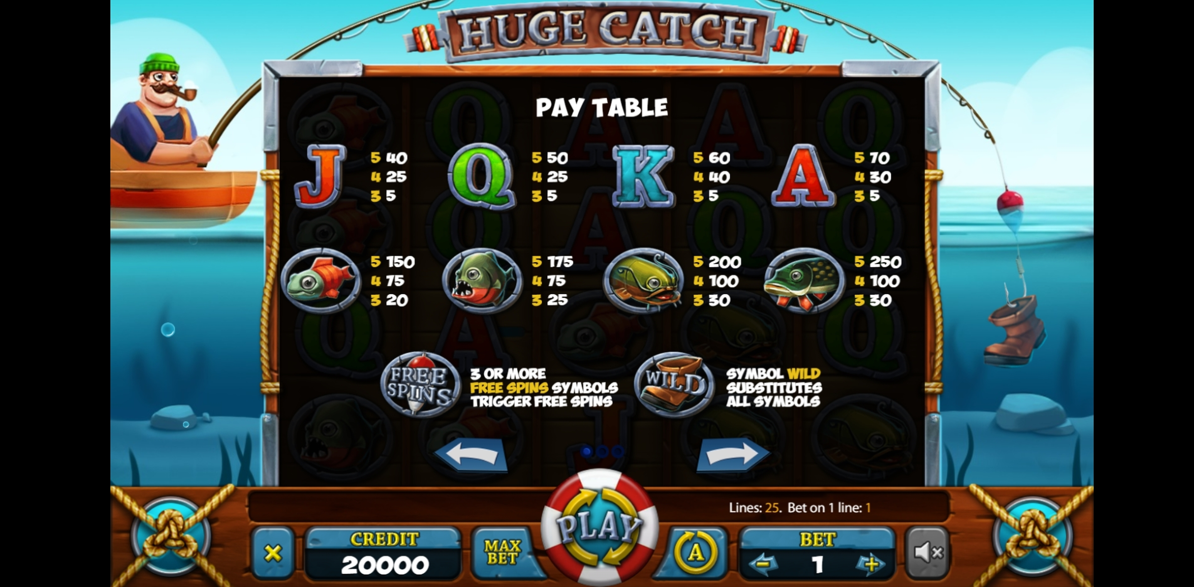 Info of Huge Catch Slot Game by X Card