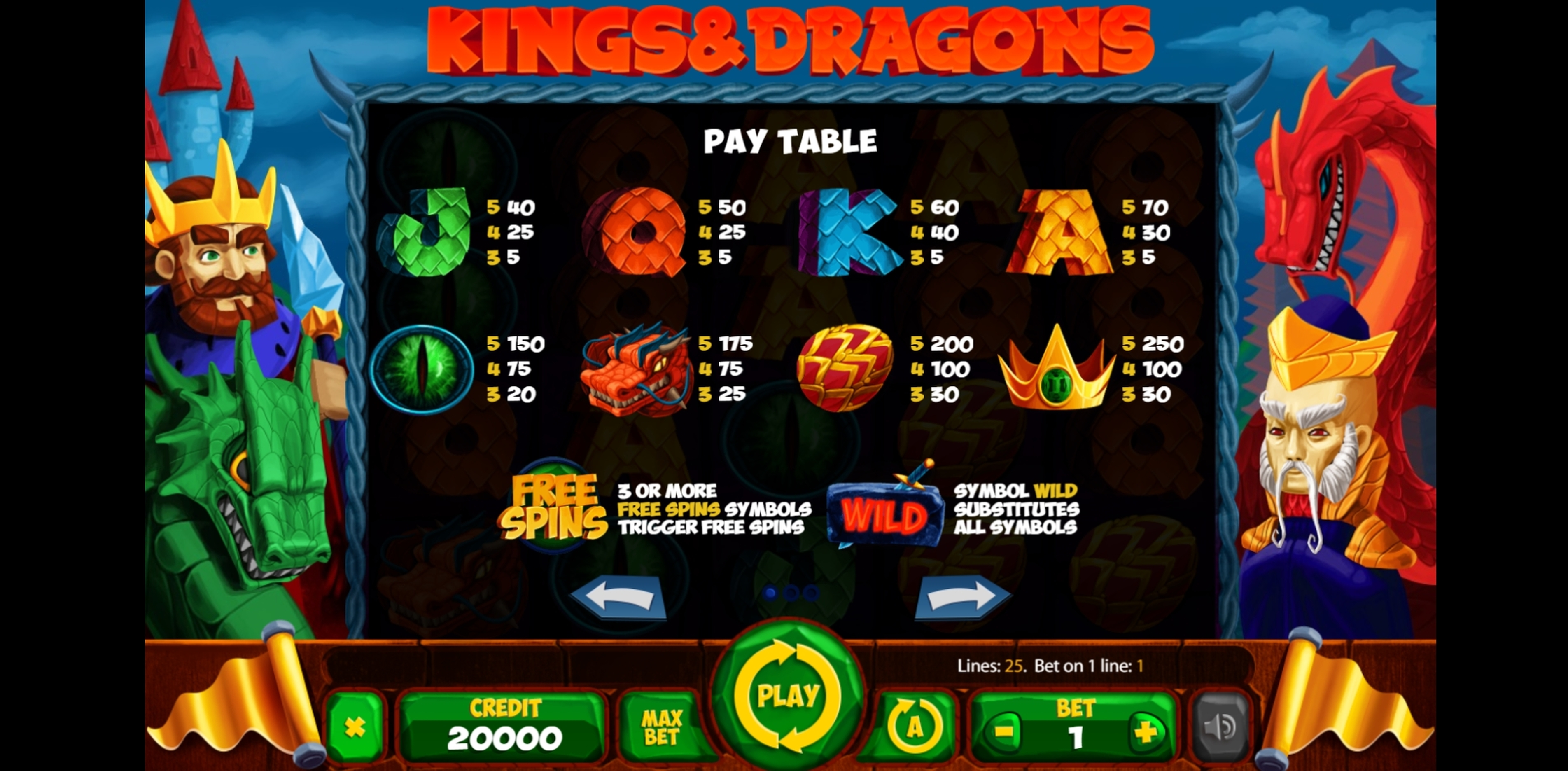 Info of Kings And Dragons Slot Game by X Card