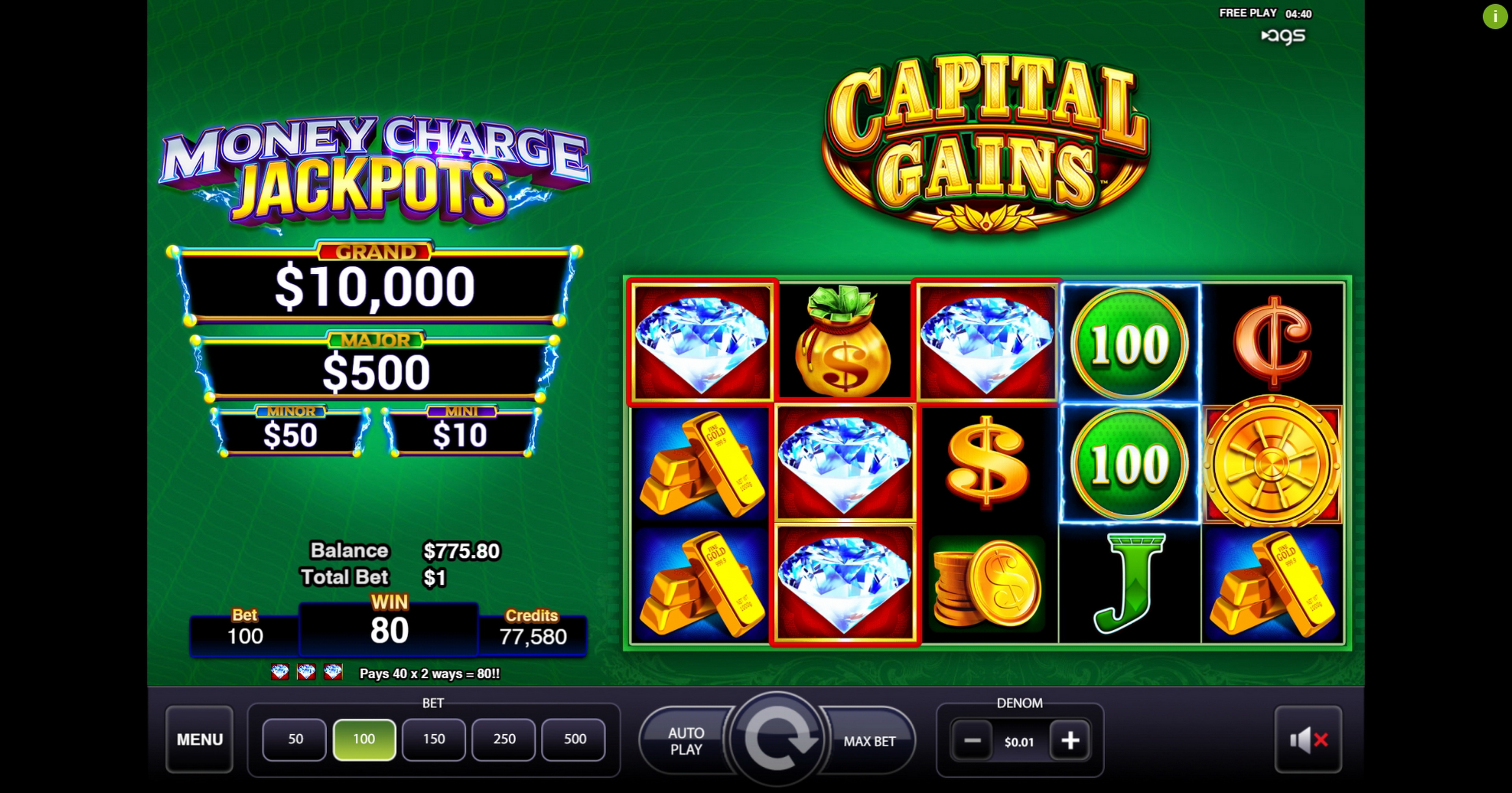 Win Money in Capital Gains Free Slot Game by AGS