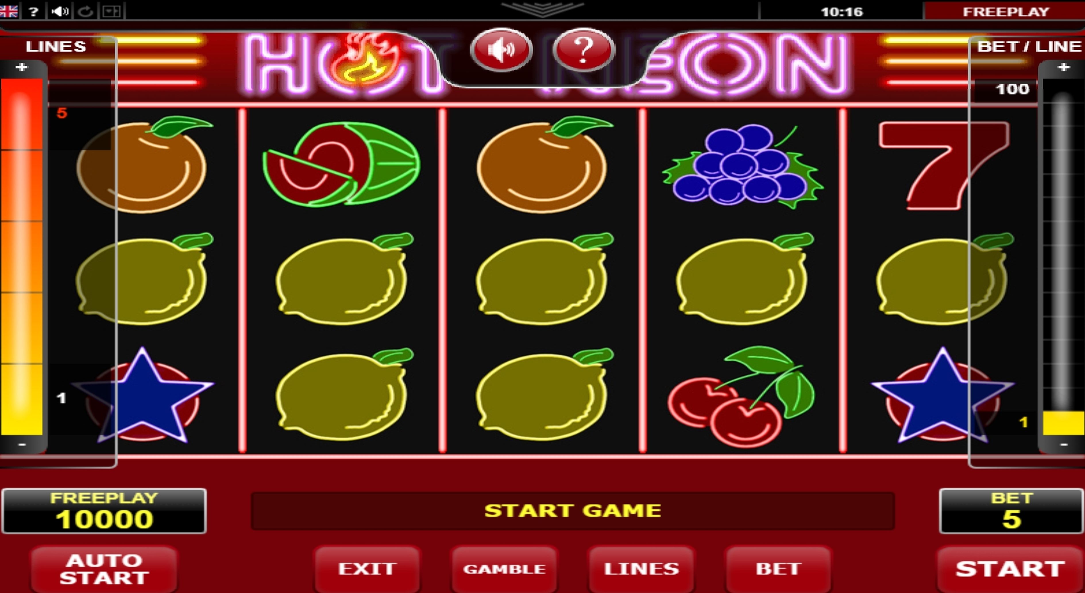Reels in Hot Neon Slot Game by Amatic Industries