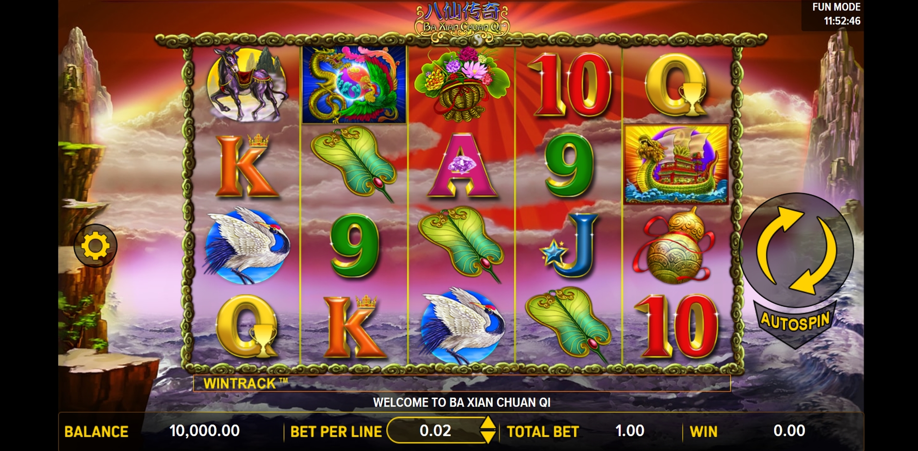 Reels in Ba Xian Chuan Qi Slot Game by Aspect Gaming