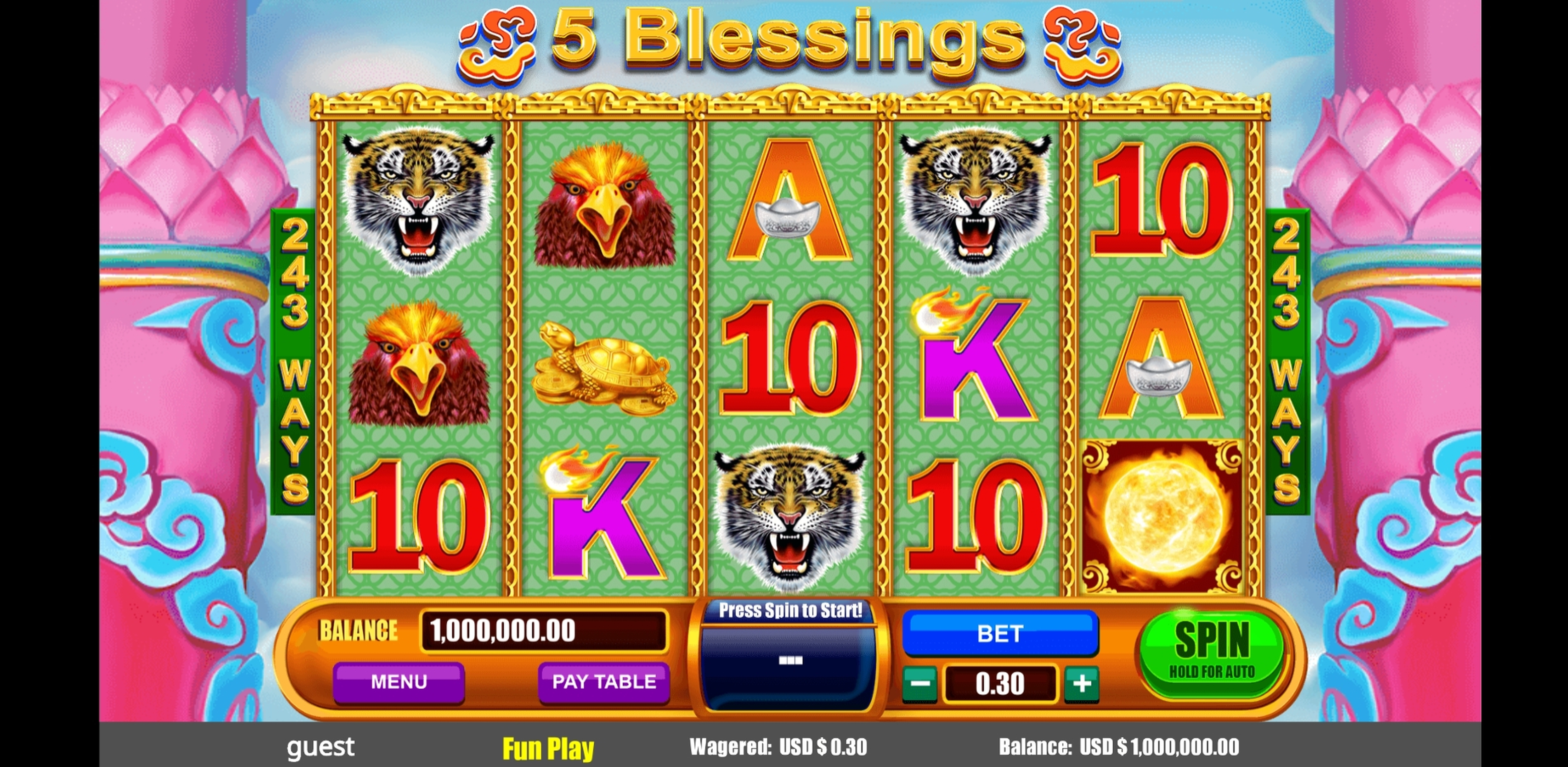 Reels in 5 Blessings Slot Game by August Gaming