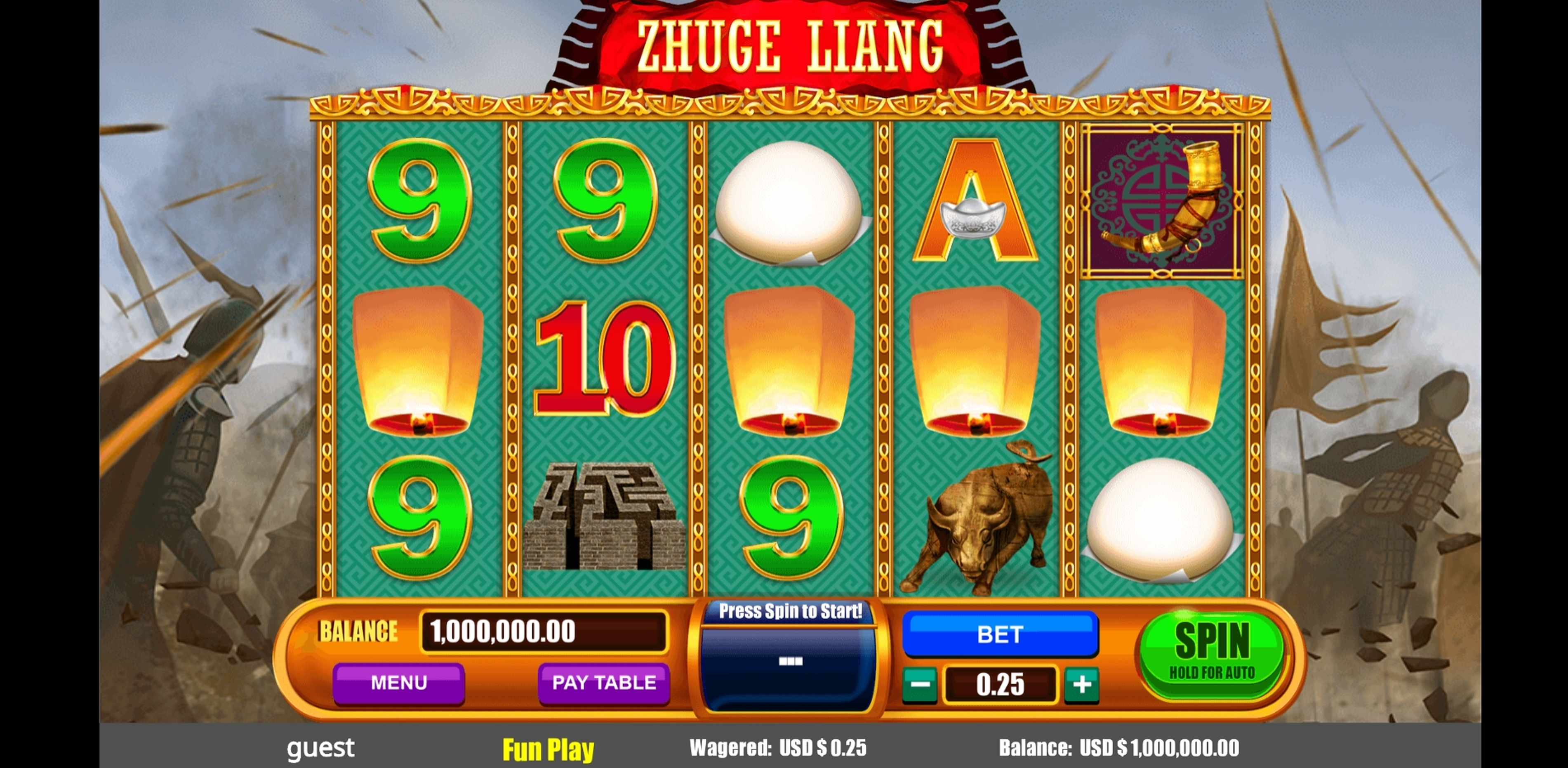 Reels in Zhuge Liang Slot Game by August Gaming