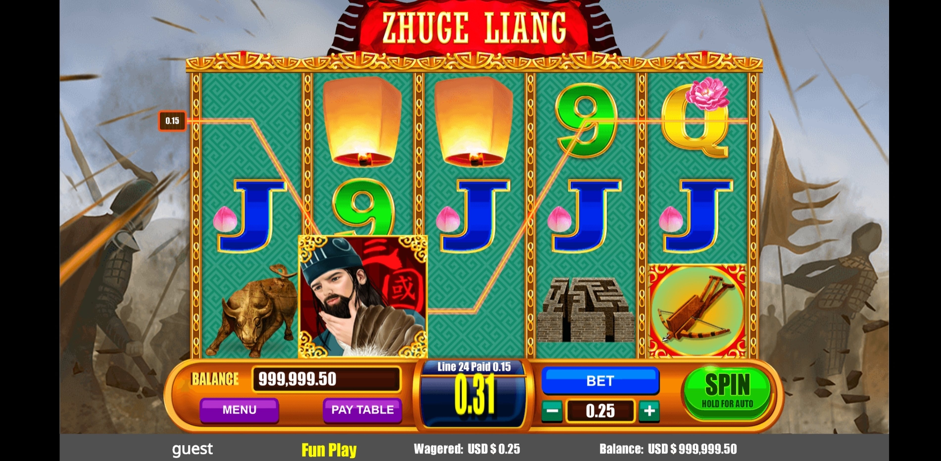 Win Money in Zhuge Liang Free Slot Game by August Gaming