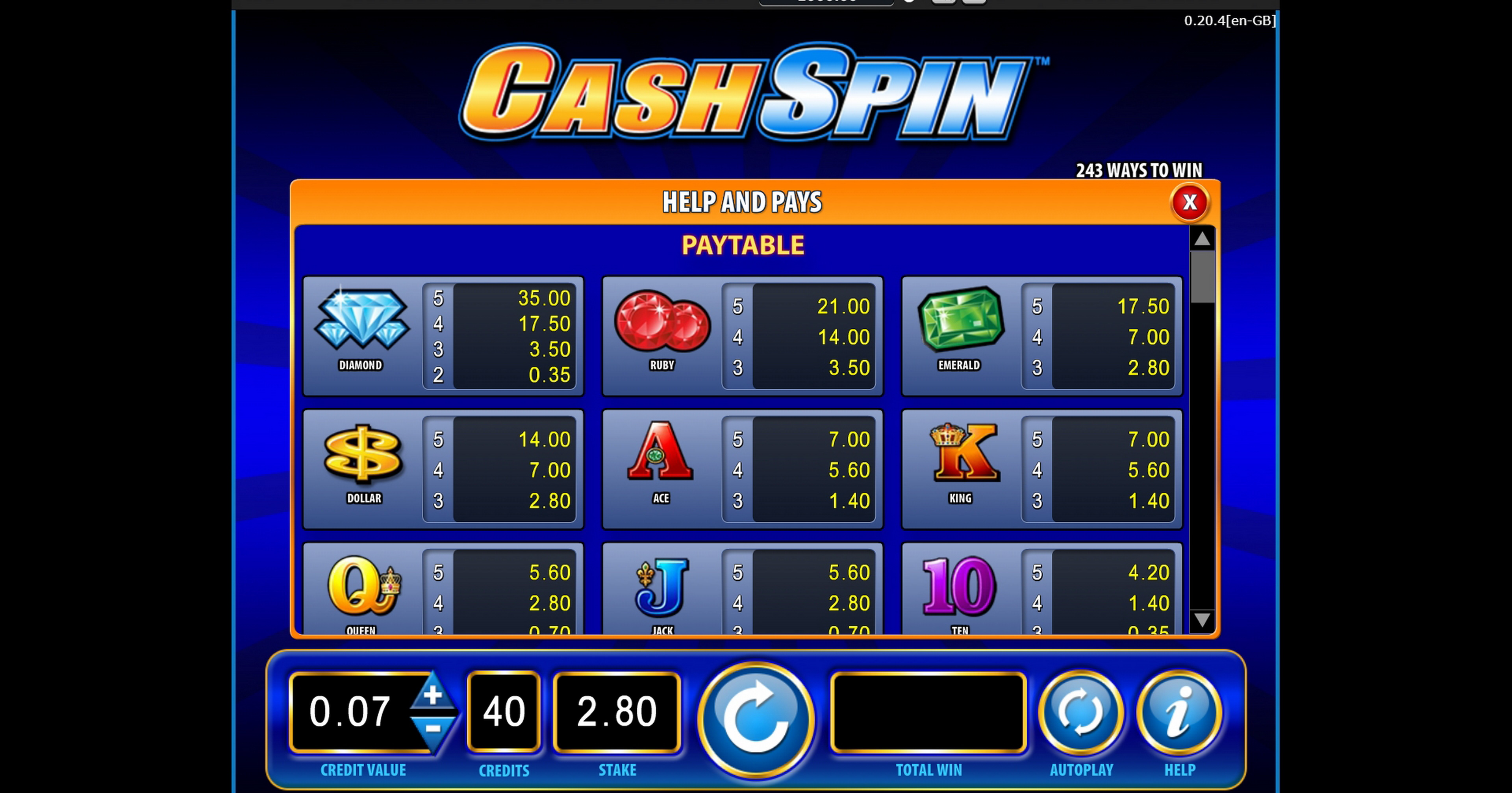 Info of Cash Spin Slot Game by Bally