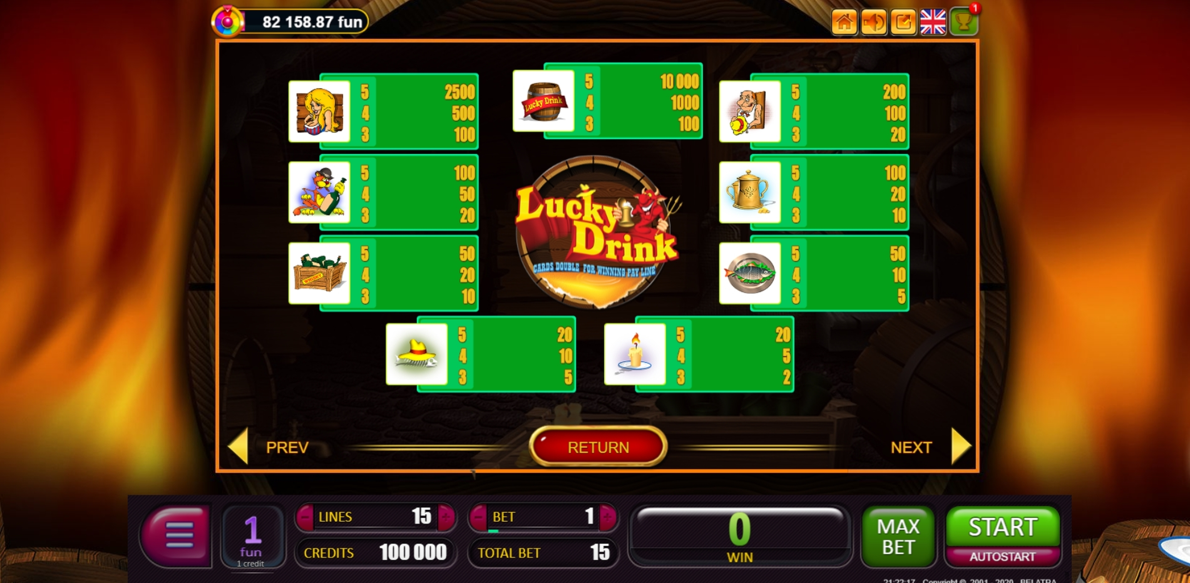 Info of Lucky Drink Slot Game by Belatra Games