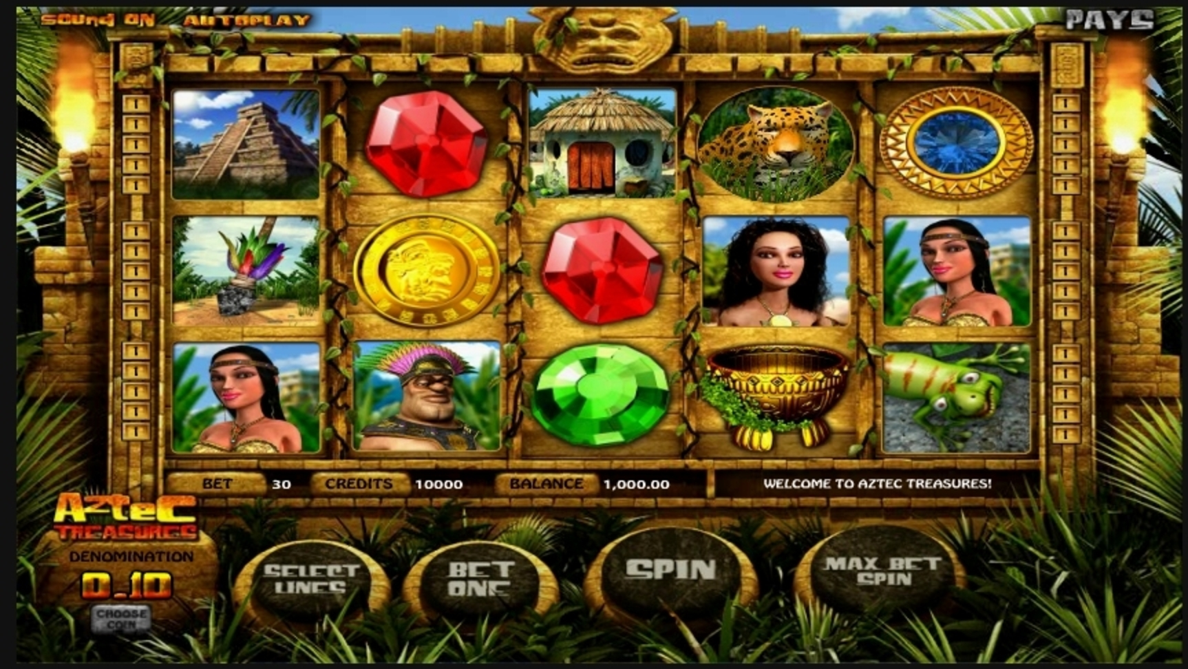 Reels in Aztec Treasures Slot Game by Betsoft