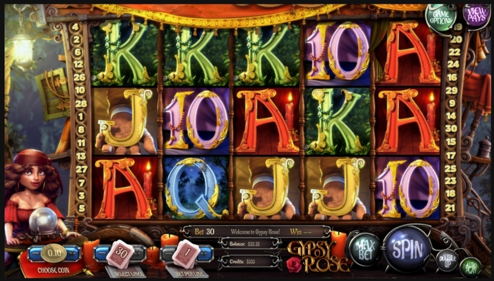 Reels in Gypsy Rose Slot Game by Betsoft