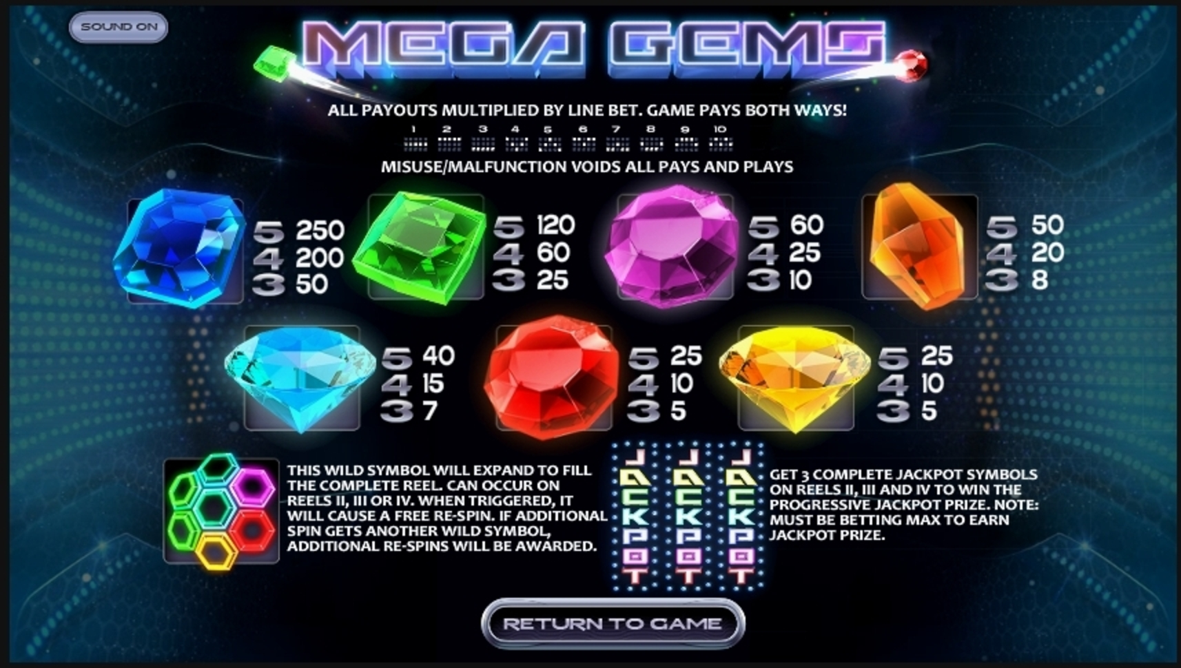 Info of Mega Gems Slot Game by Betsoft