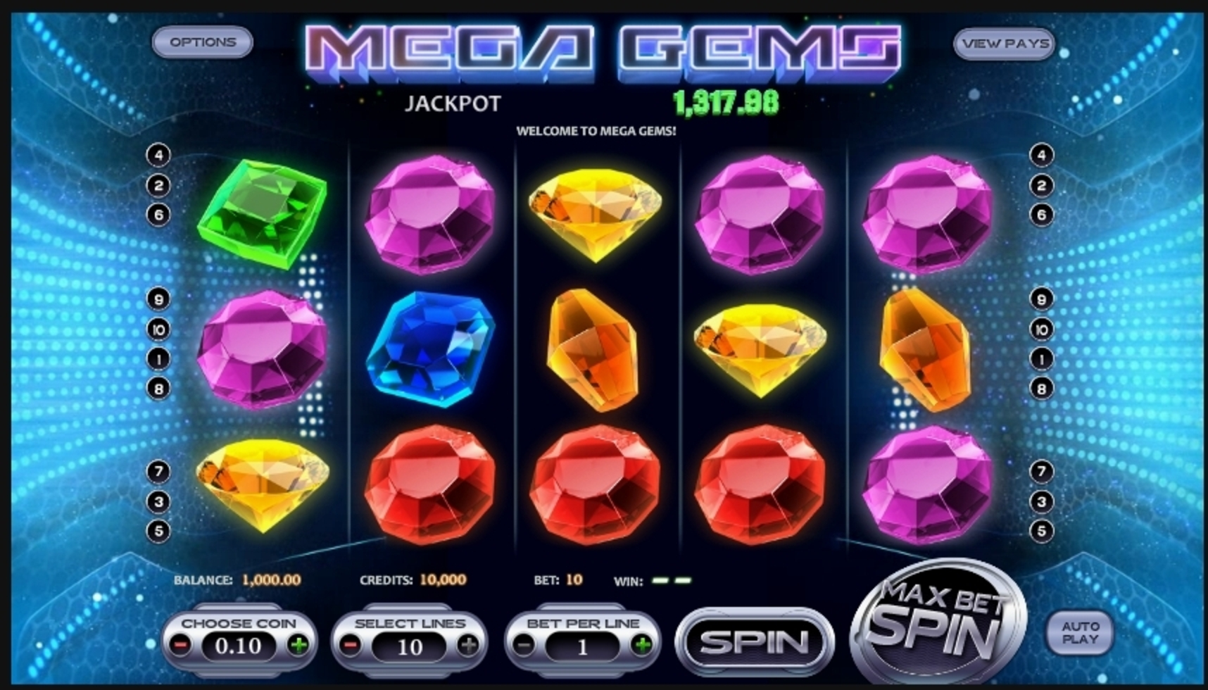 Reels in Mega Gems Slot Game by Betsoft