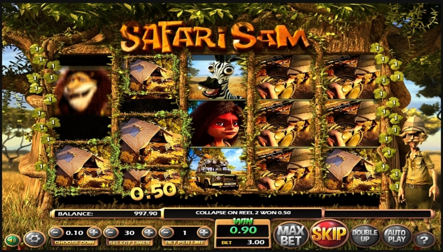 Win Money in Safari Sam Free Slot Game by Betsoft