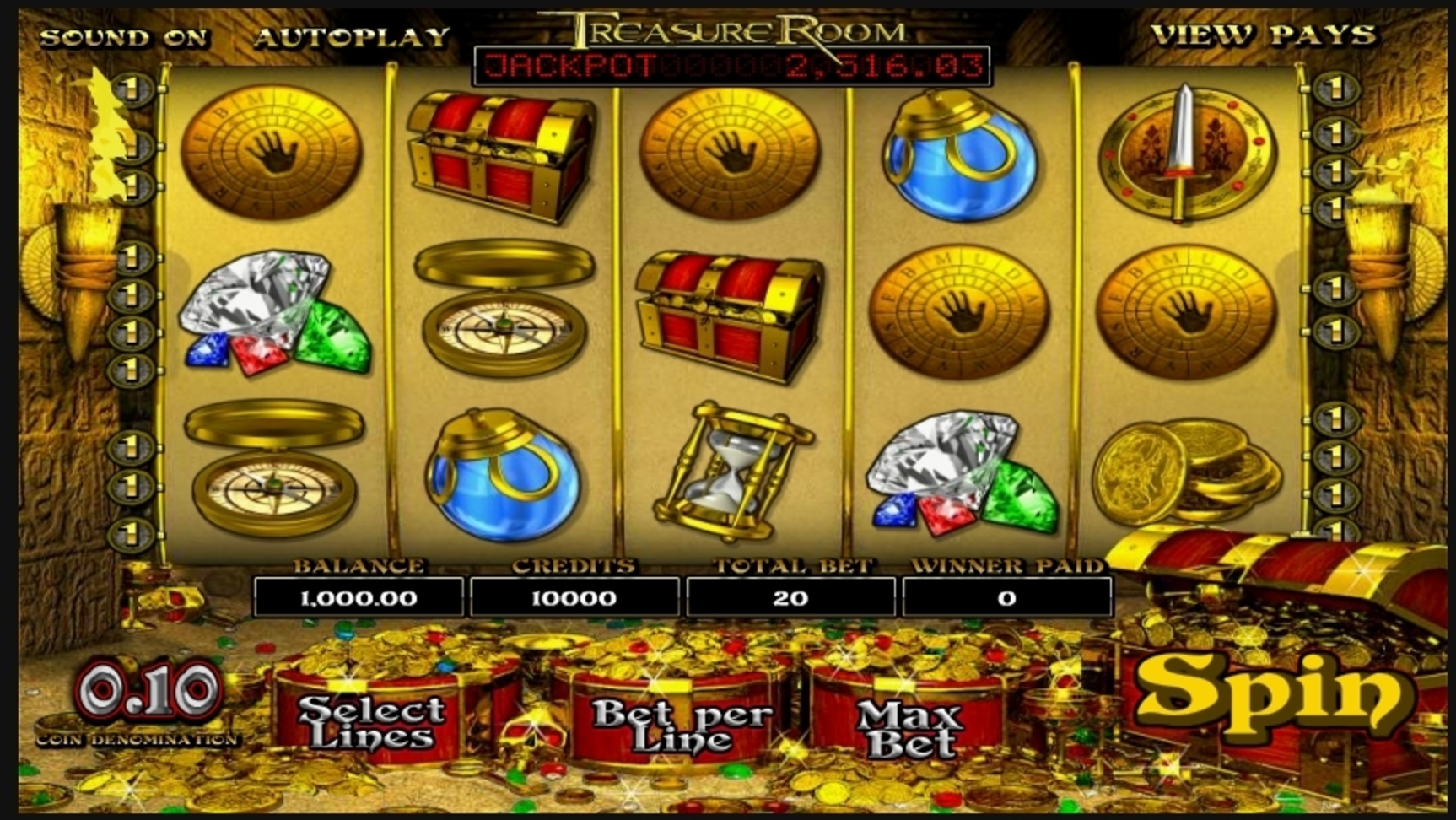 Reels in Treasure Room Slot Game by Betsoft
