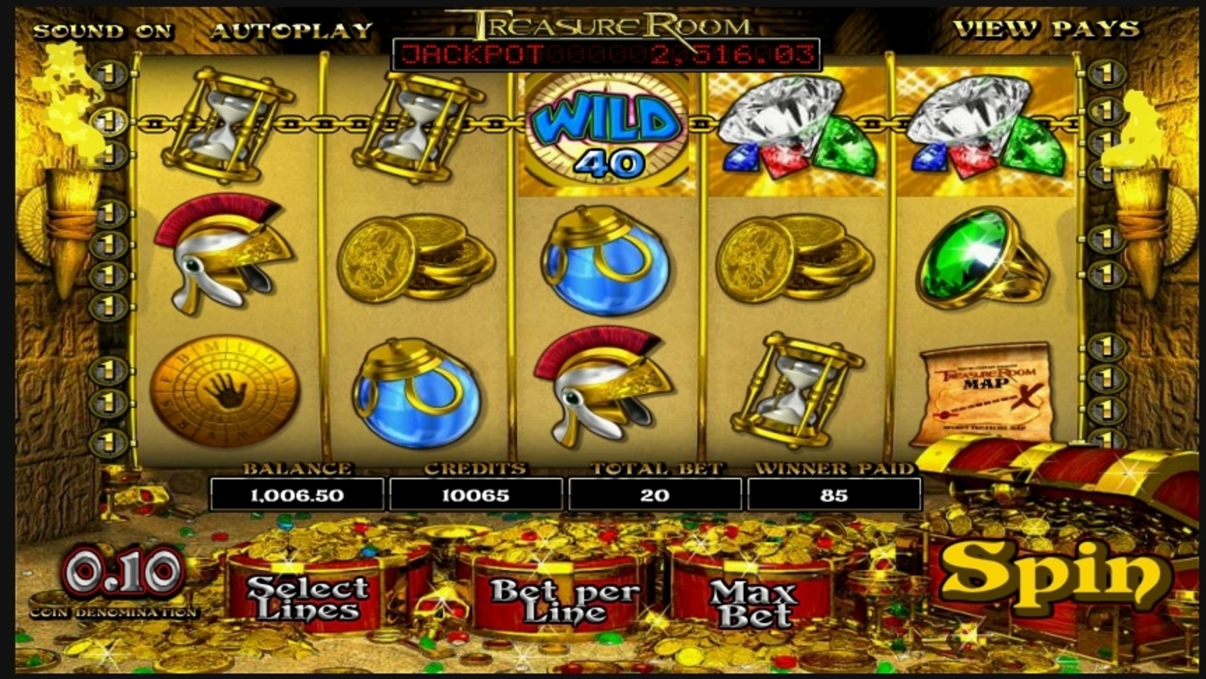Win Money in Treasure Room Free Slot Game by Betsoft