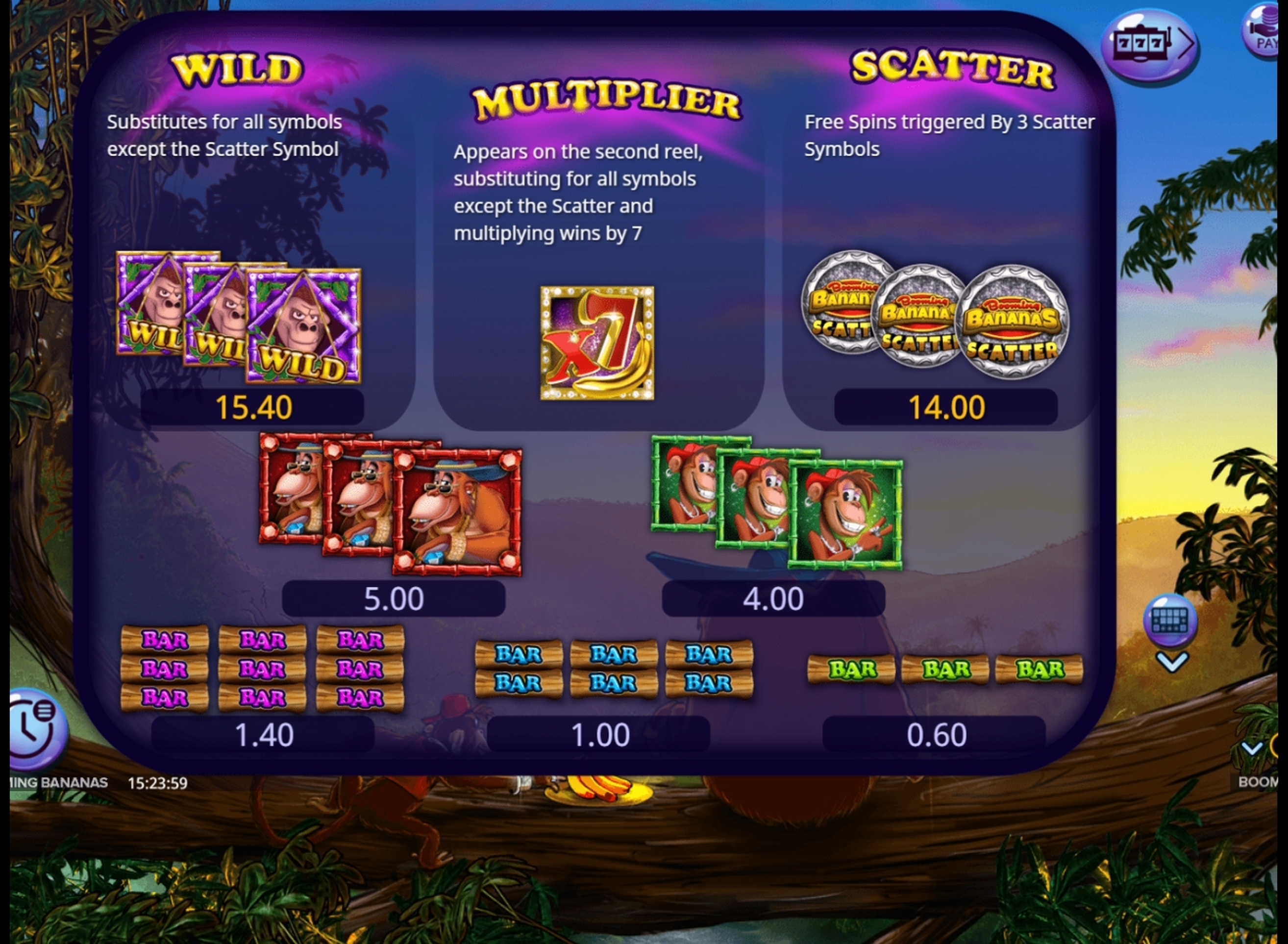 Info of Booming Bananas Slot Game by Booming Games