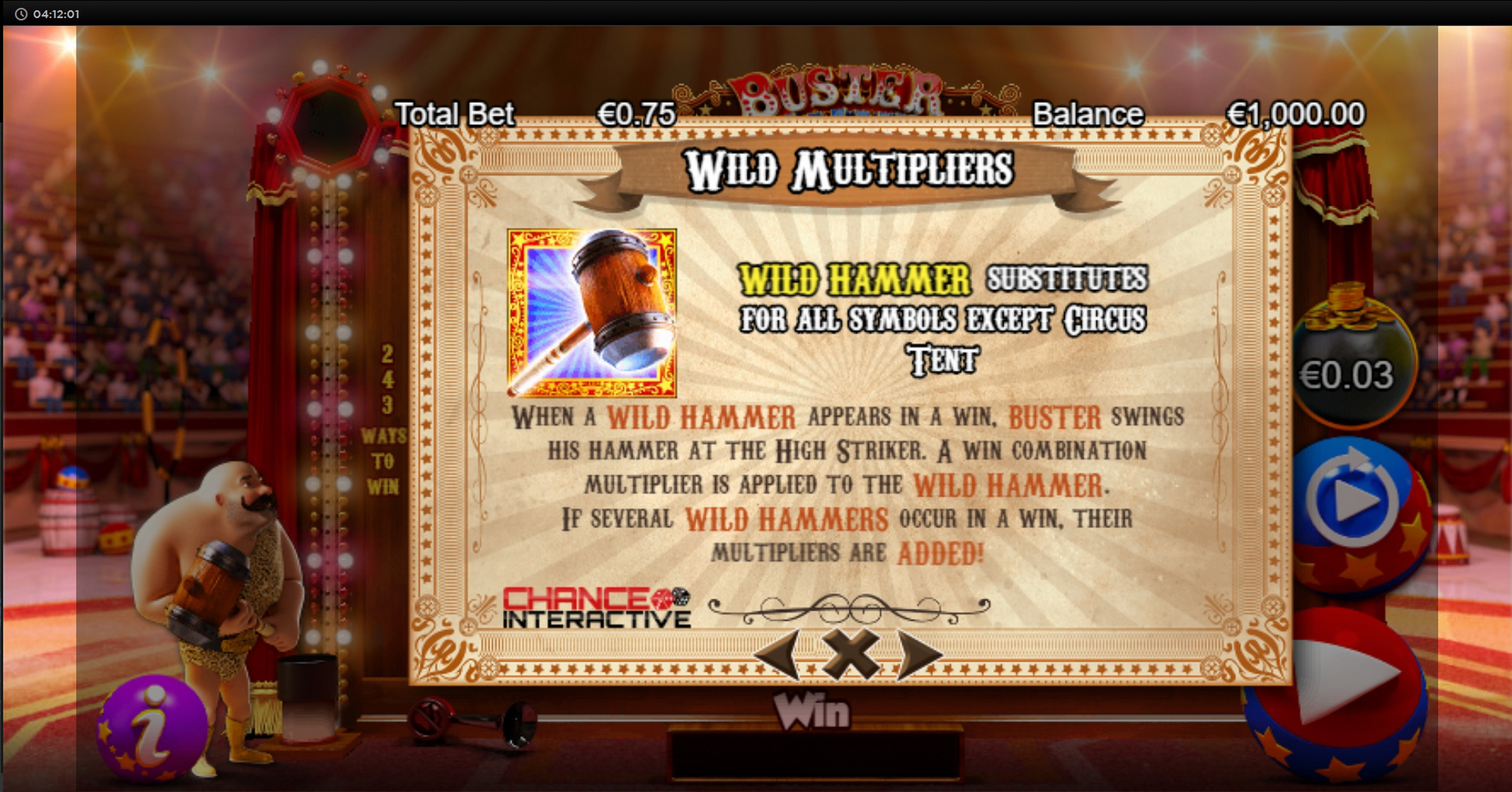 Info of Buster Hammer Slot Game by Chance Interactive