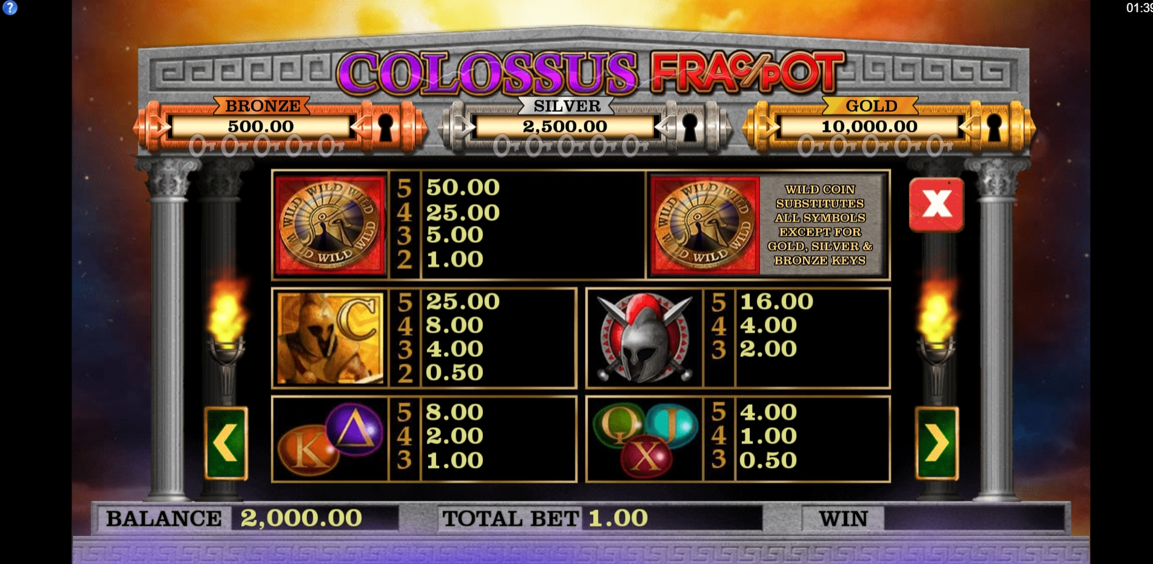 Info of Colossus Fracpot Slot Game by CORE Gaming