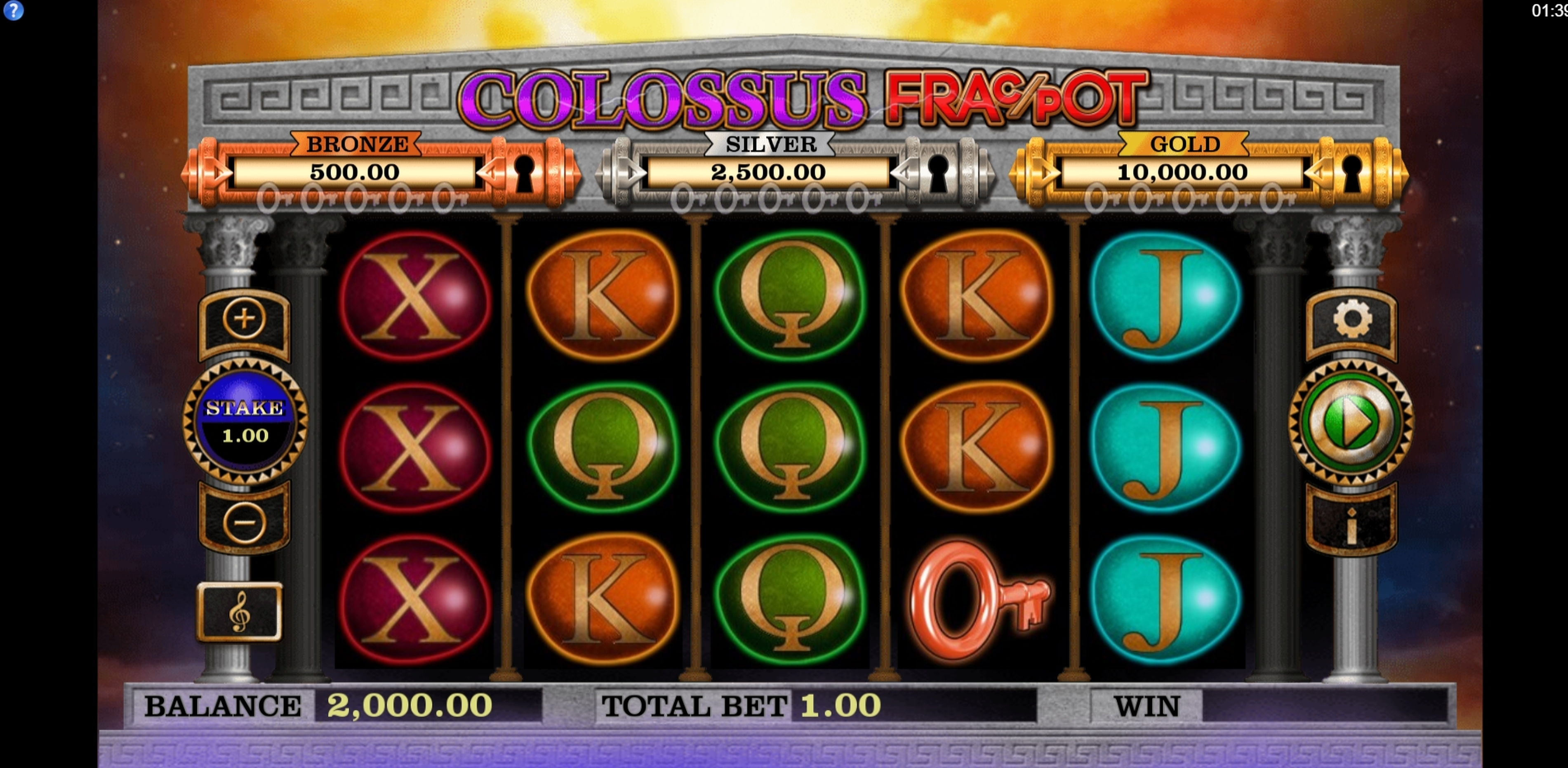 Reels in Colossus Fracpot Slot Game by CORE Gaming
