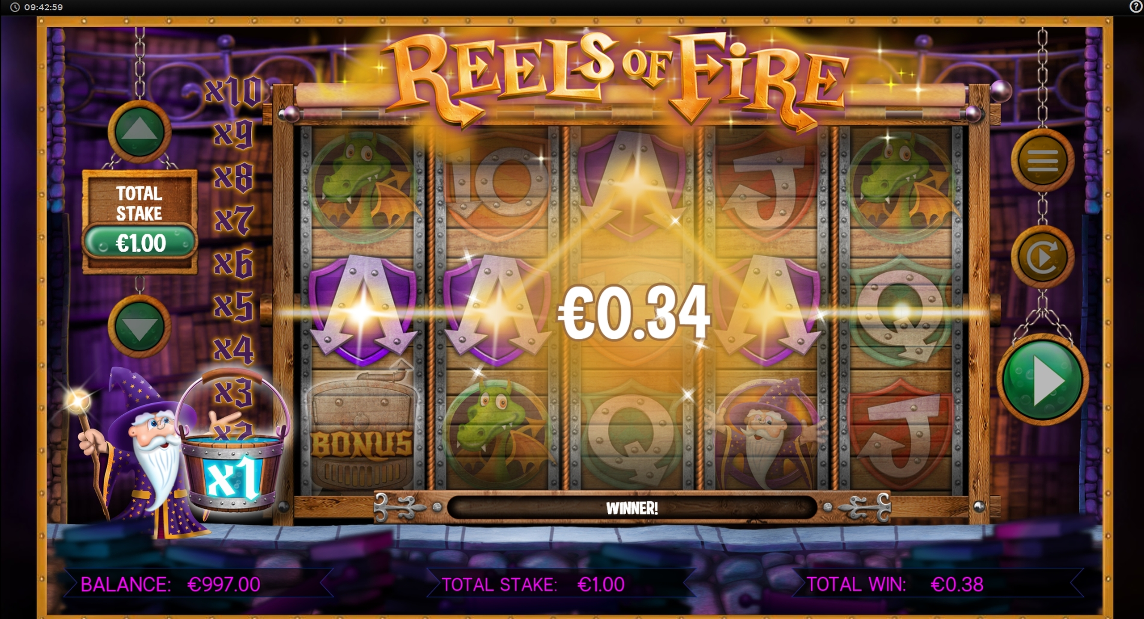 Win Money in Reels of Fire Free Slot Game by CORE Gaming