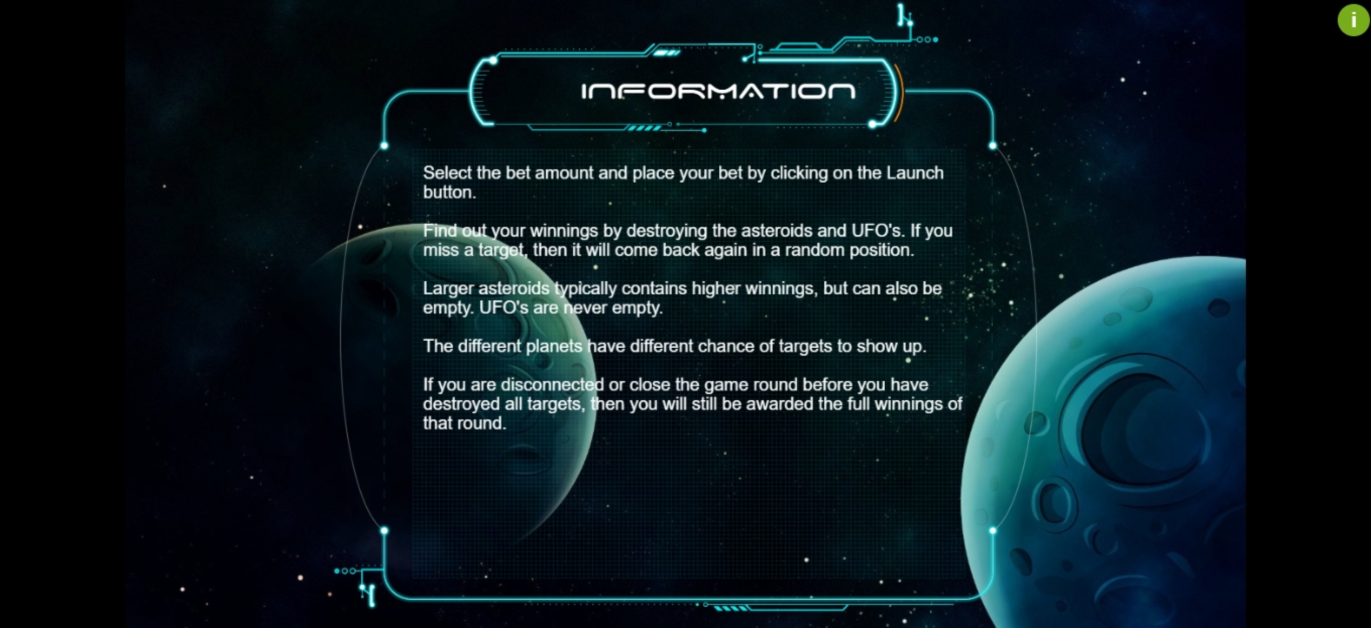 Info of Space Bounty Slot Game by Cubeia