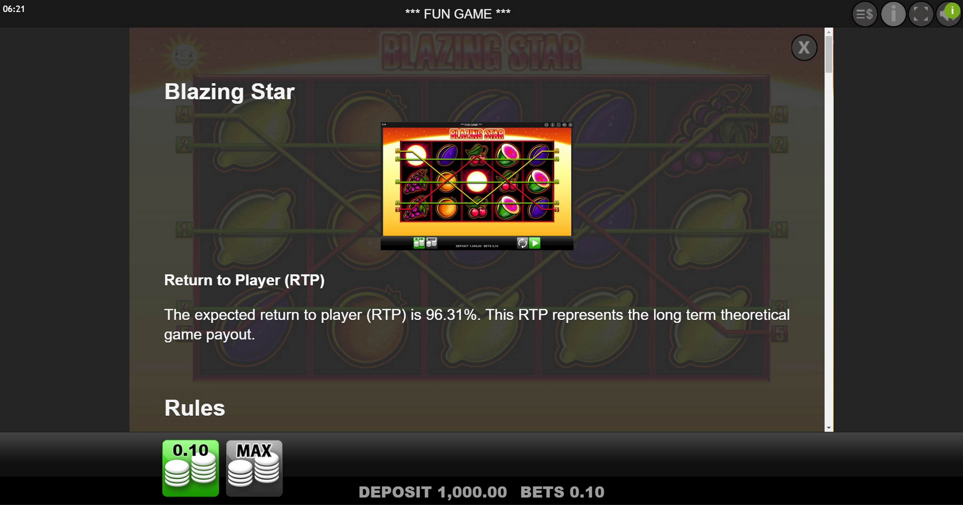 Info of Blazing Star Slot Game by edict