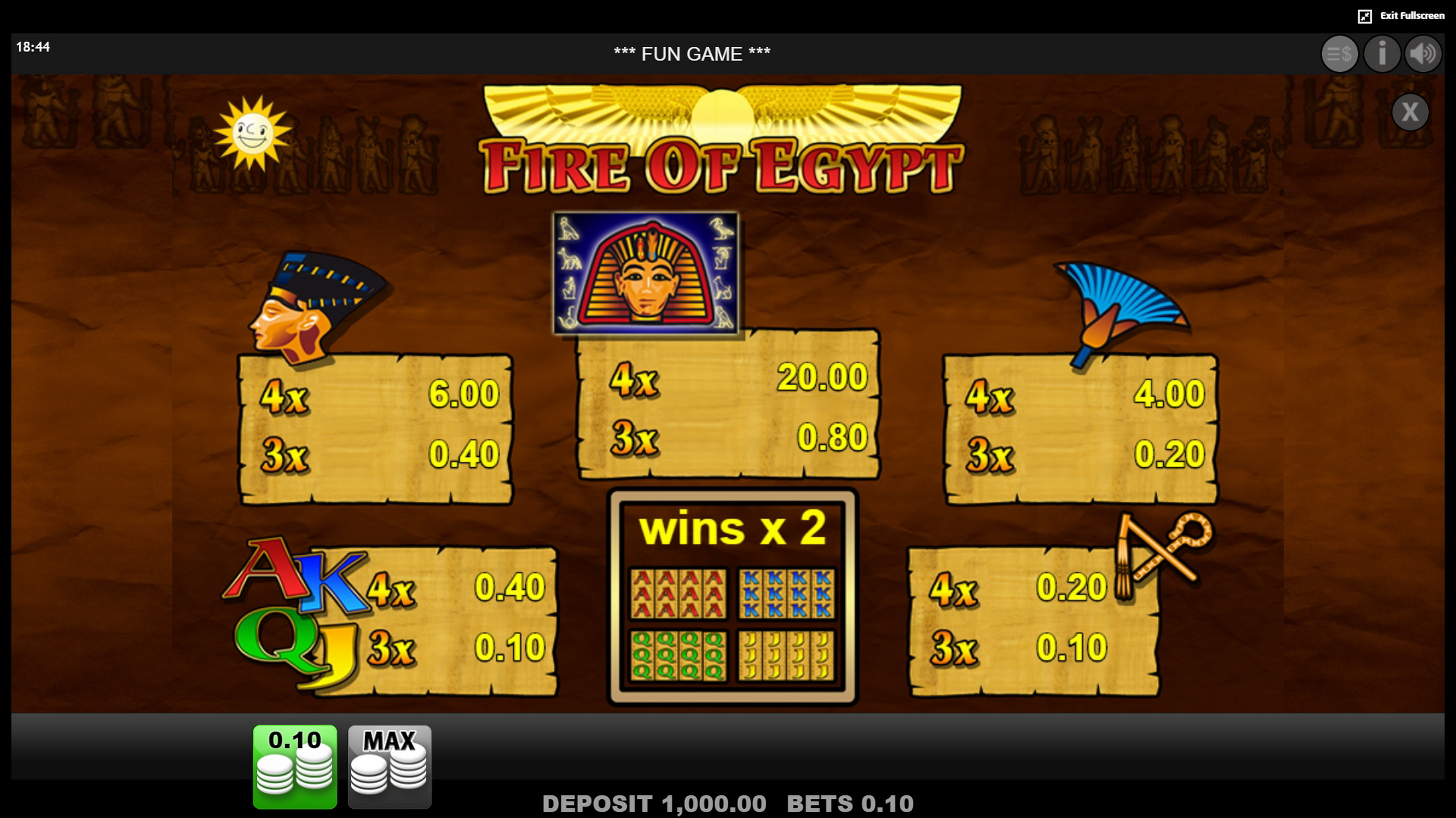 Info of Fire of Egypt Slot Game by edict