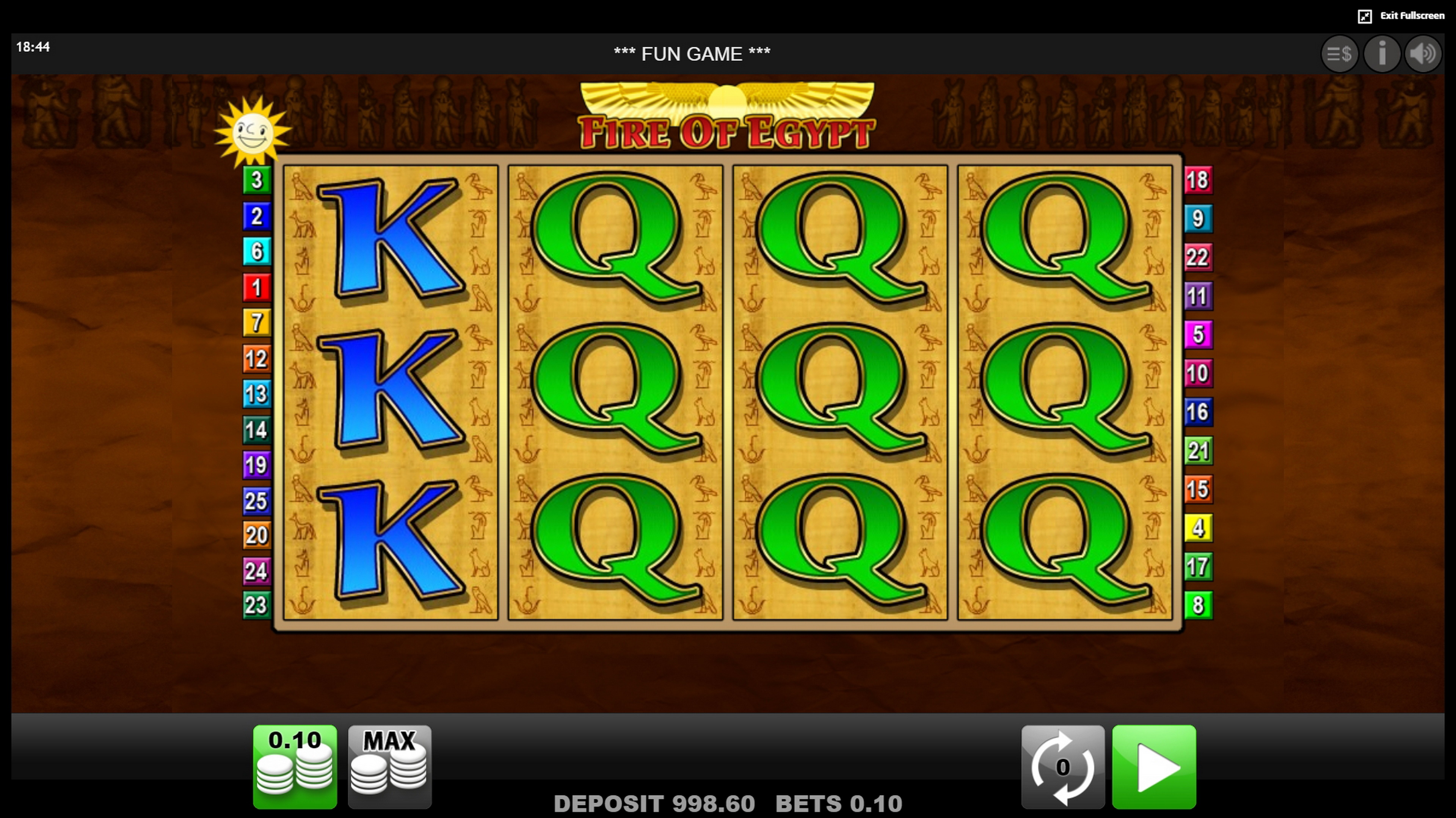Reels in Fire of Egypt Slot Game by edict