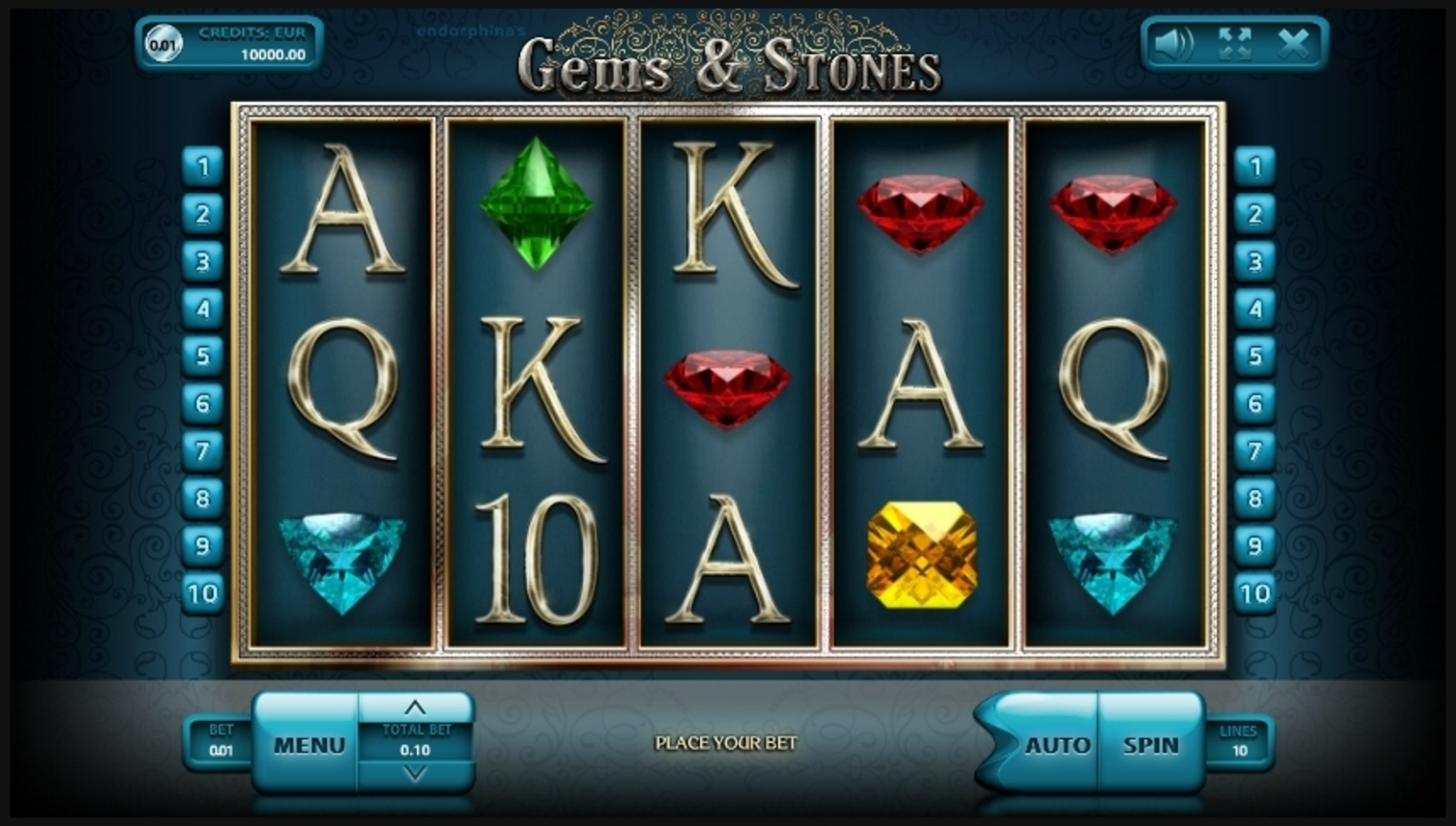 Reels in Gems & Stones Slot Game by Endorphina
