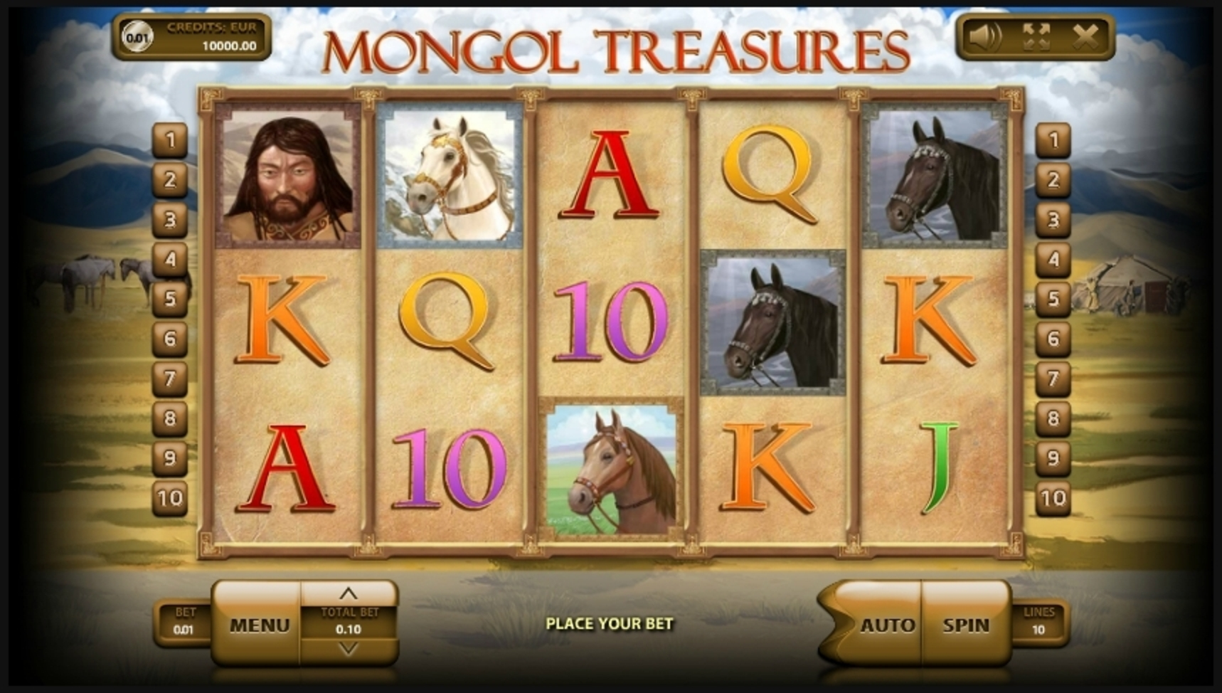 Reels in Mongol Treasures Slot Game by Endorphina