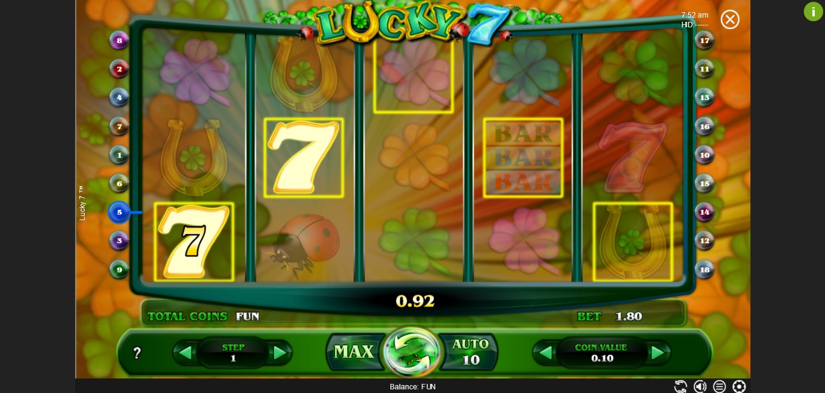 Win Money in Lucky 7 (Espresso Games) Free Slot Game by Espresso Games