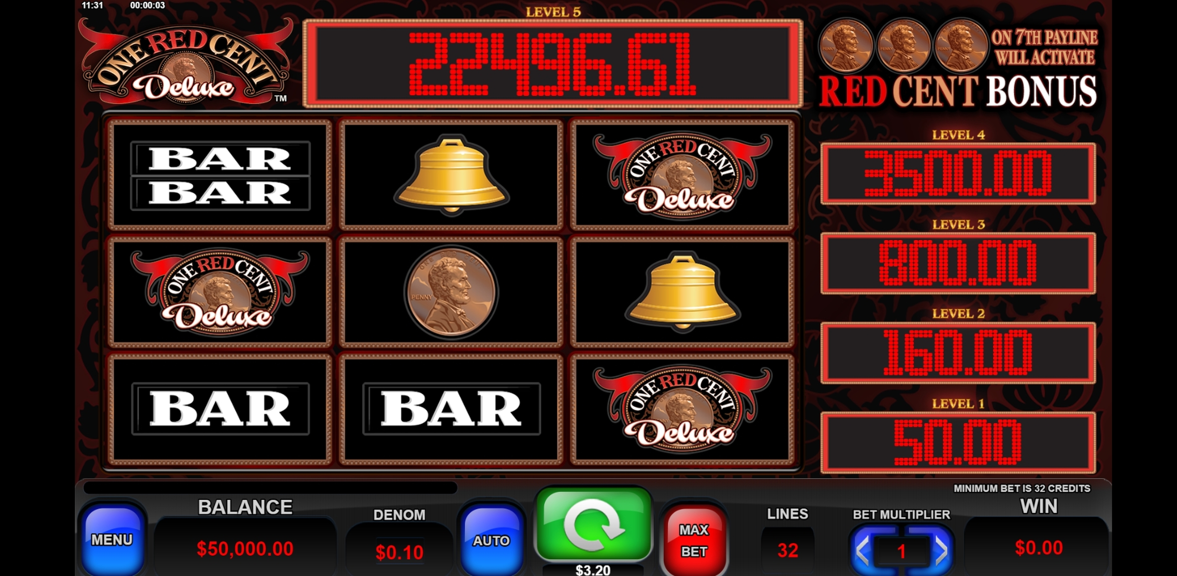 Reels in One Red Cent Deluxe Slot Game by Everi