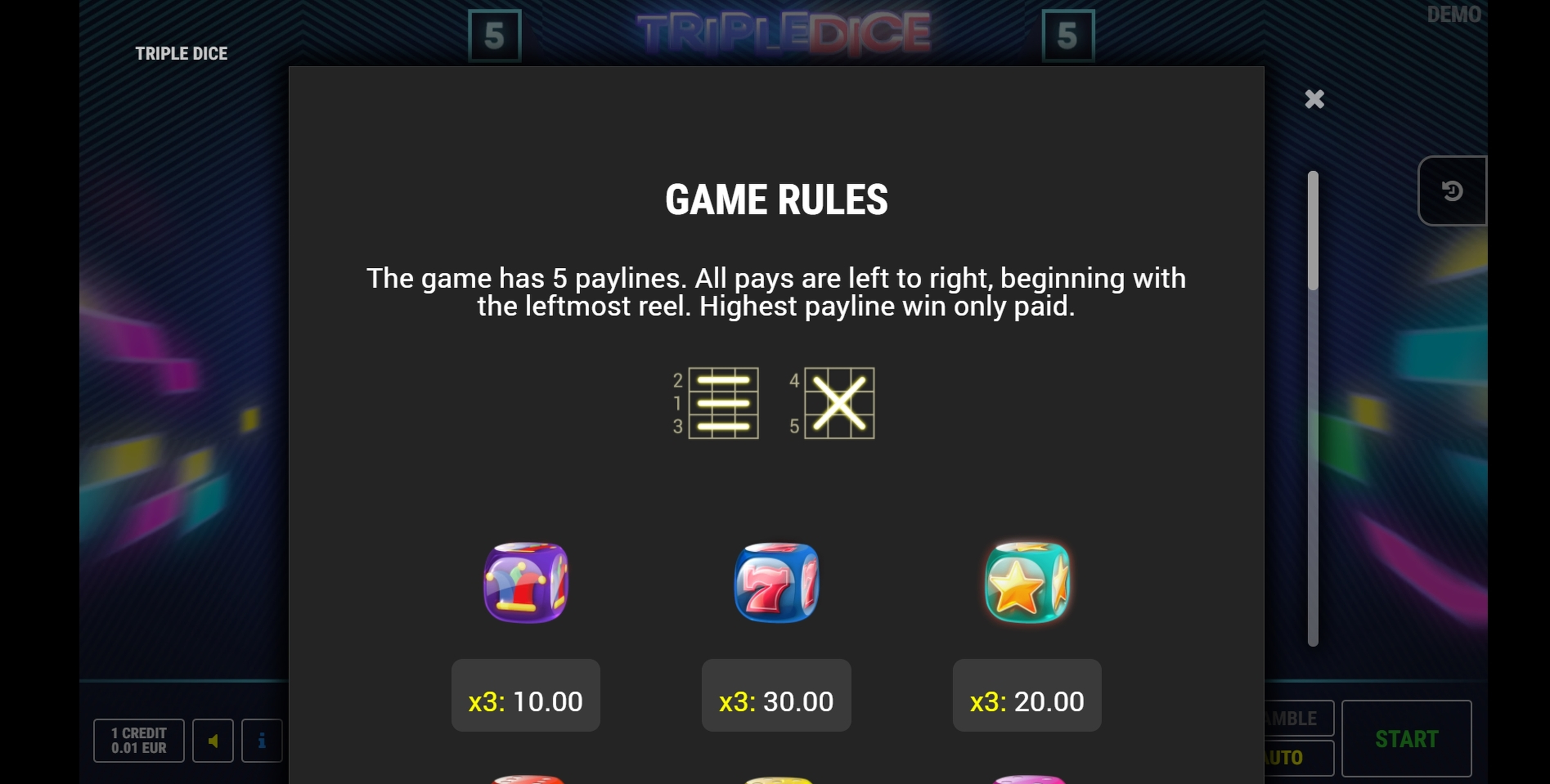Info of Triple Dice Slot Game by Fazi