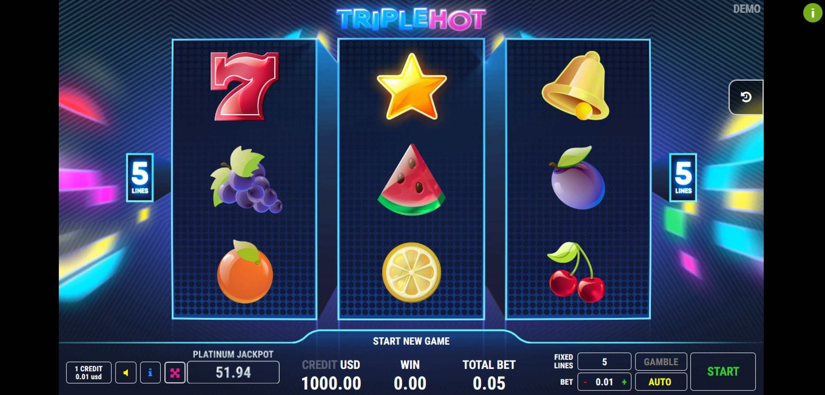 Reels in Triple Hot	 Slot Game by Fazi Gaming