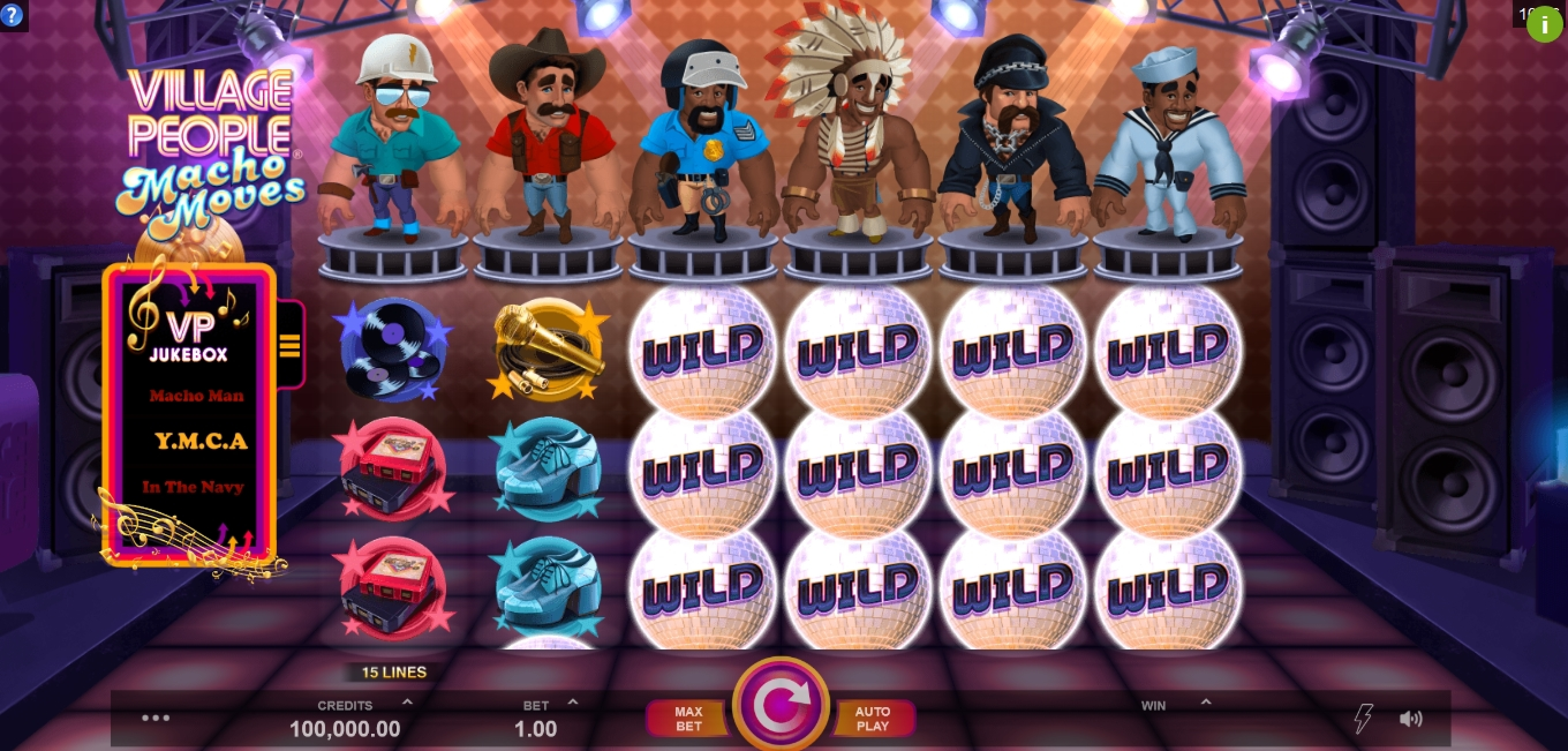Reels in Village People Macho Moves Slot Game by Fortune Factory Studios