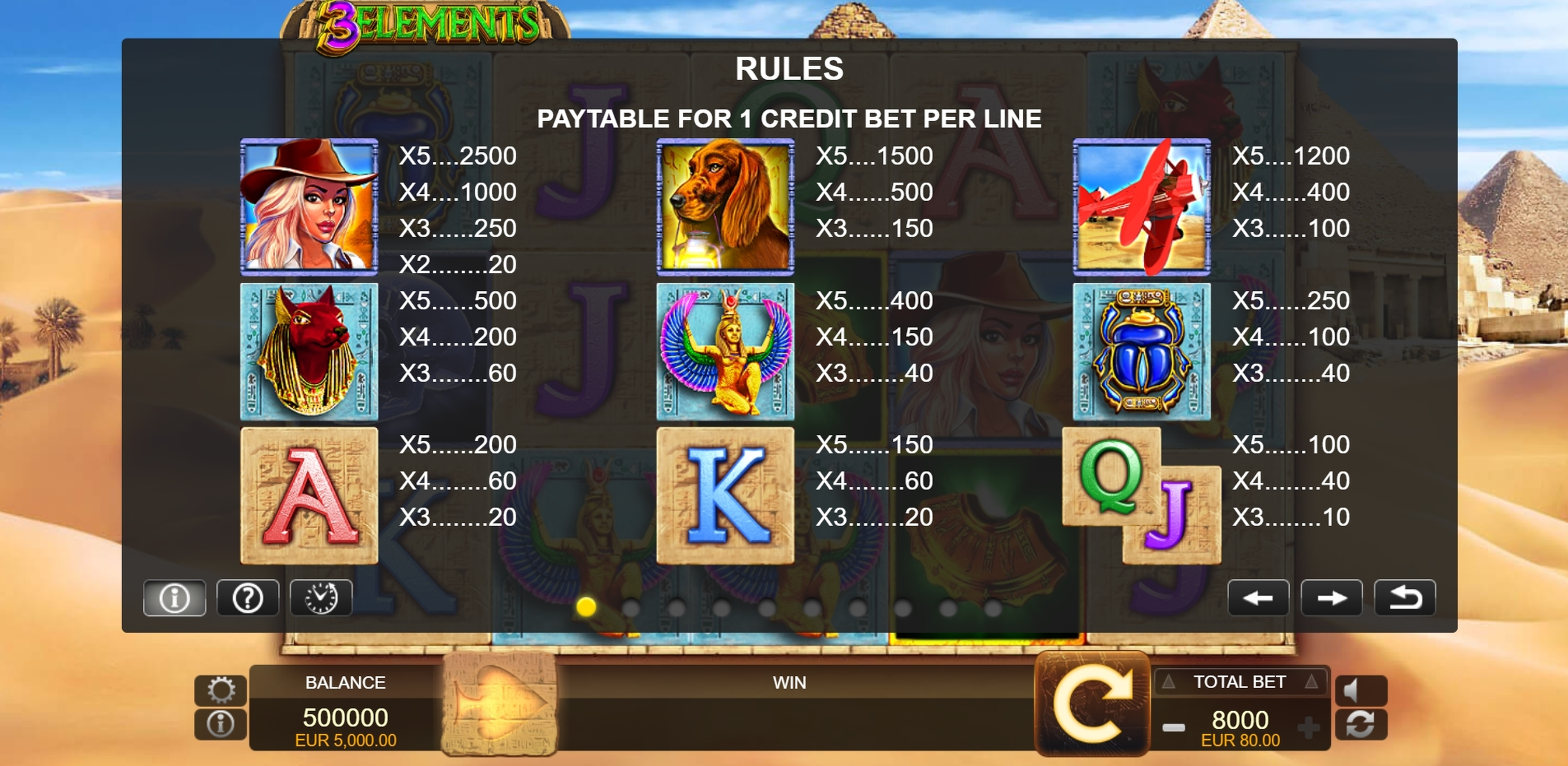 Info of 3 Elements Slot Game by FUGA Gaming