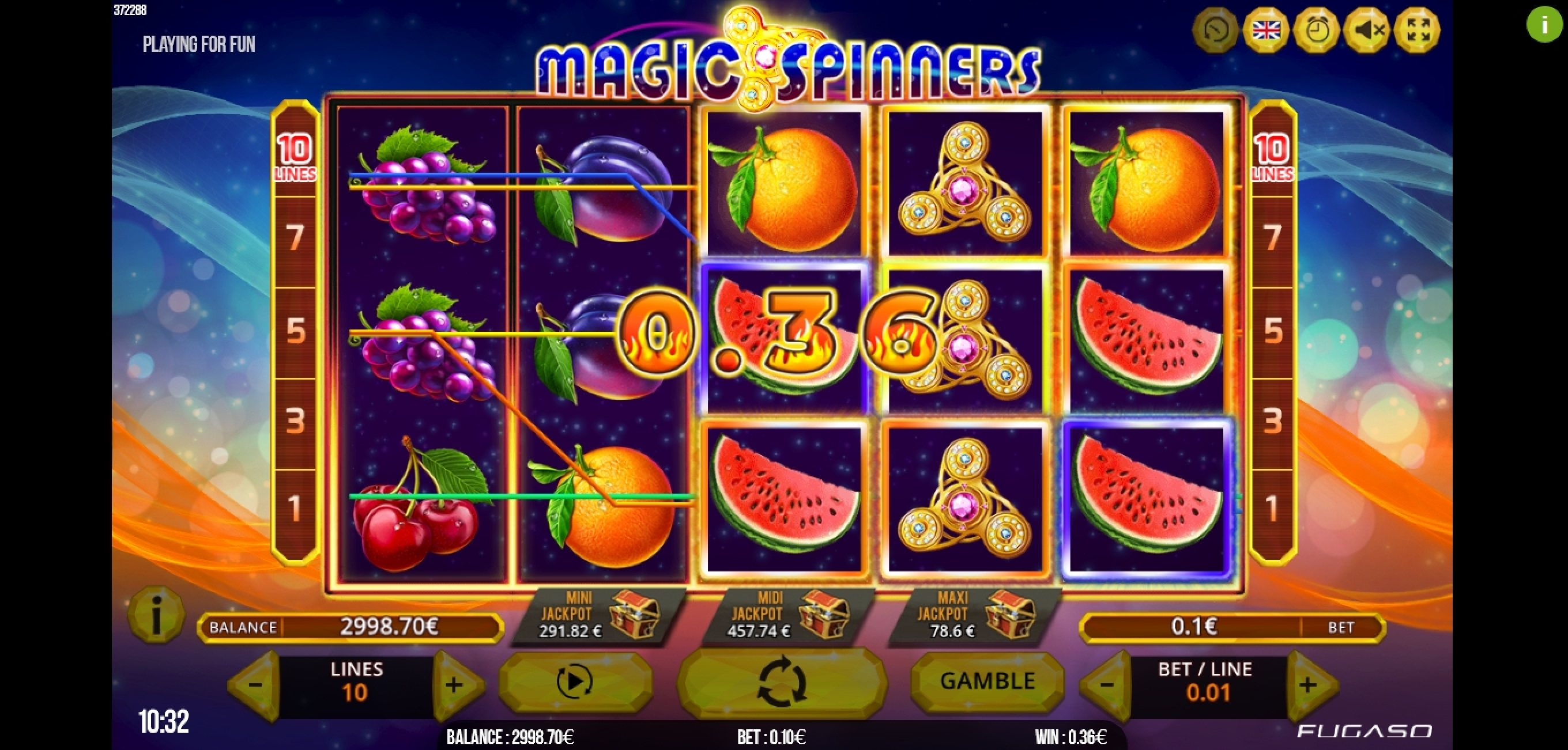 Win Money in Magic Spinners Free Slot Game by Fugaso