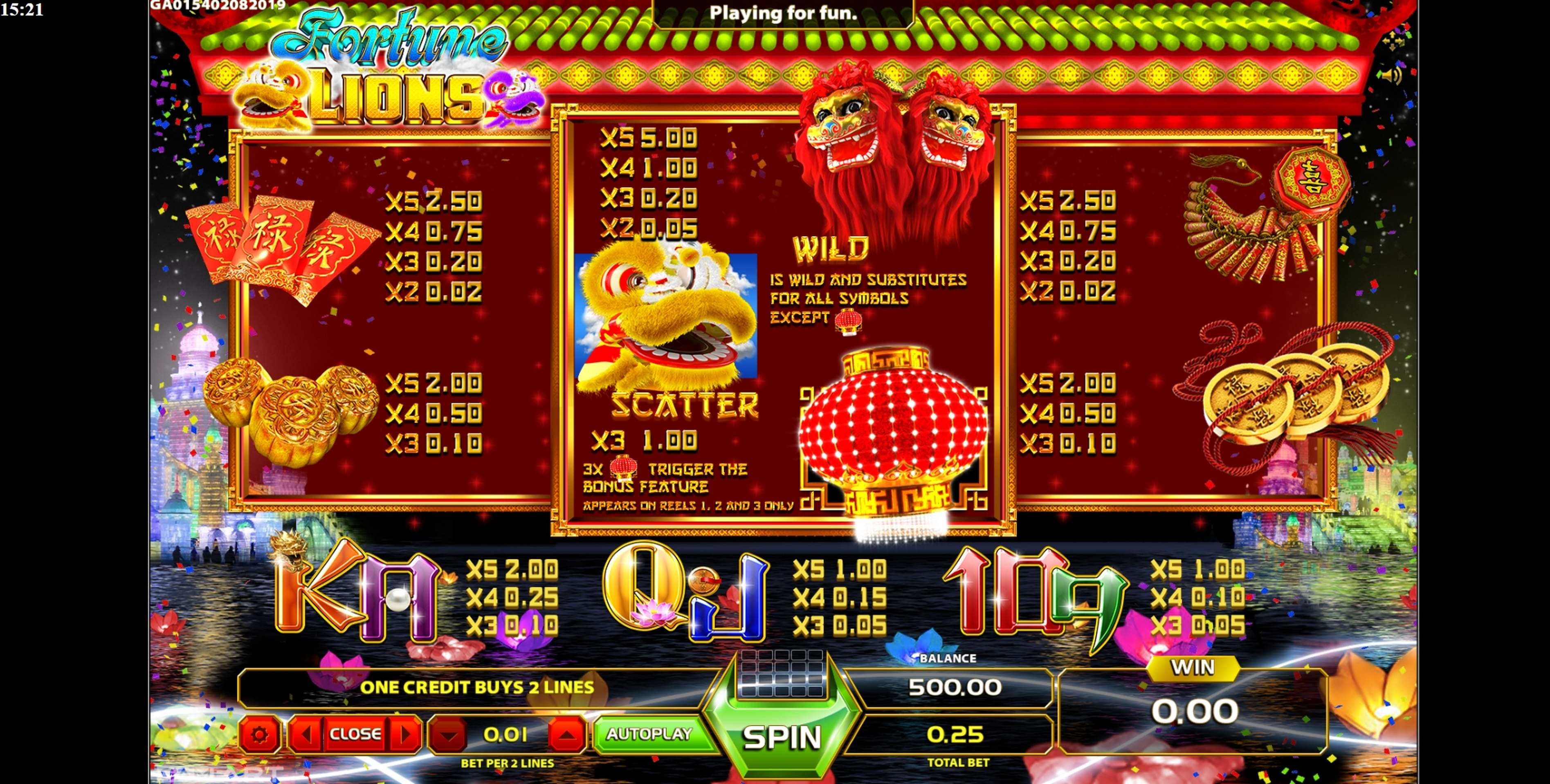 Info of Fortune Lions (GameArt) Slot Game by GameArt