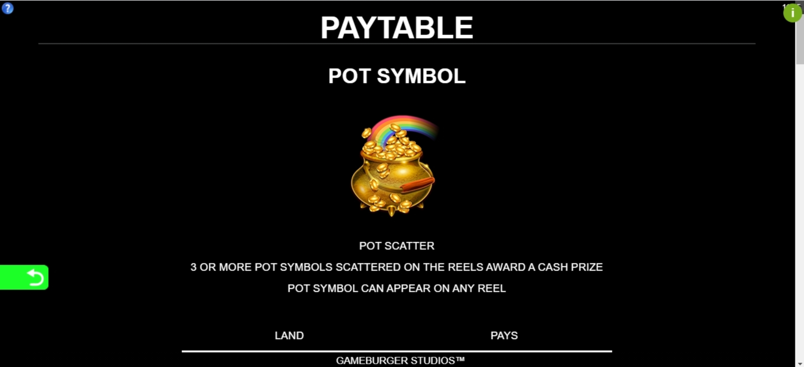 Info of 9 Pots of Gold Slot Game by Gameburger Studios