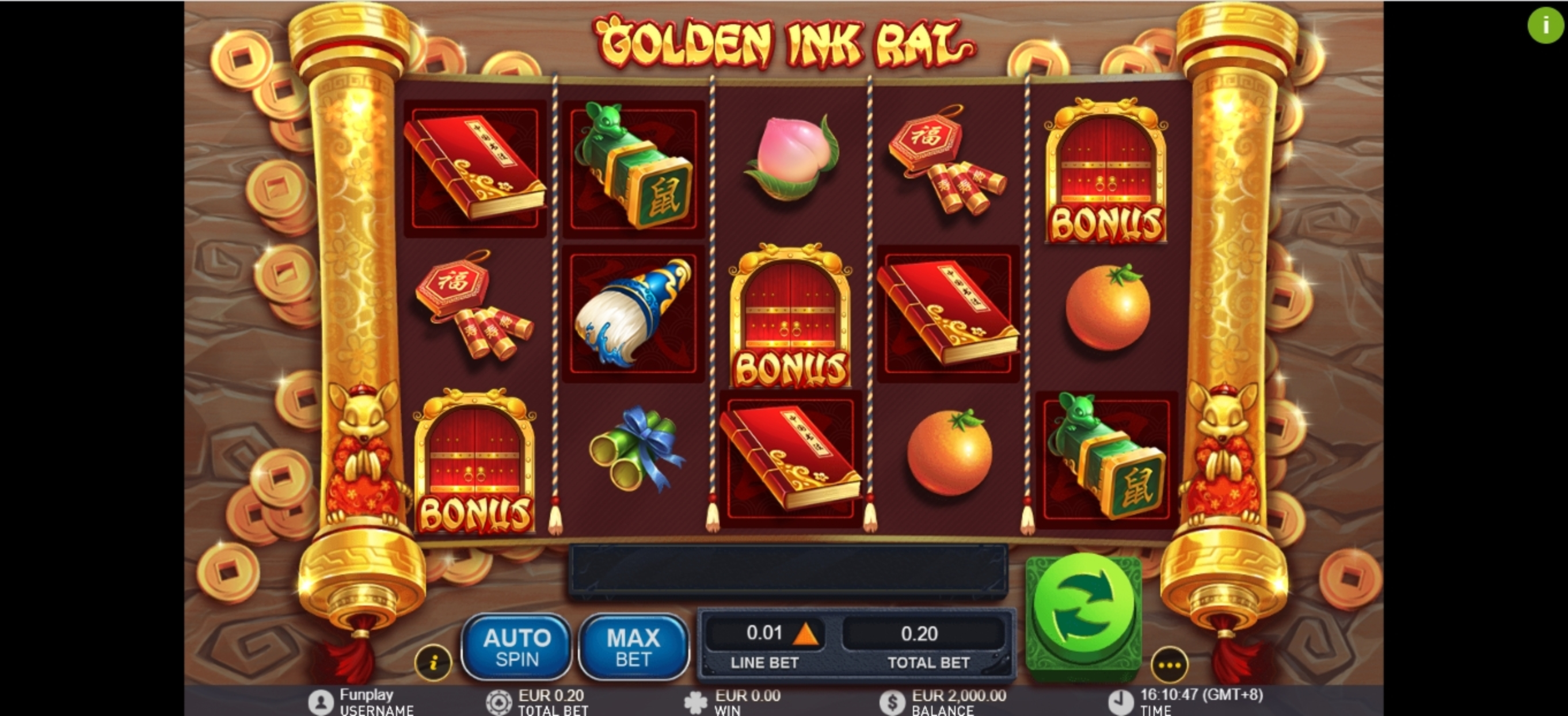 Reels in Golden Ink Rat Slot Game by GamePlay