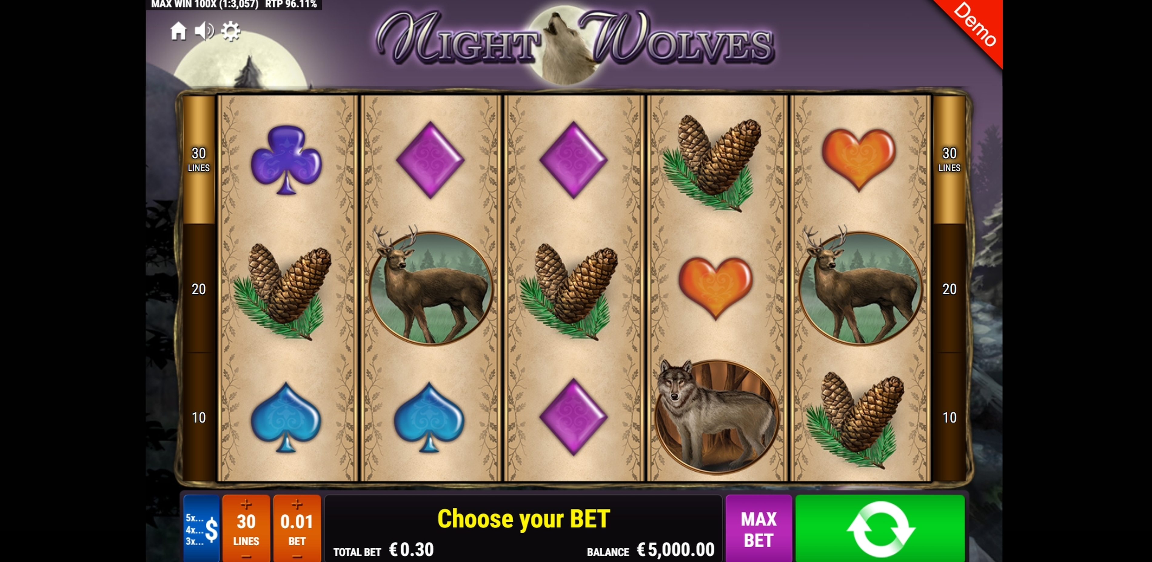 Reels in Night Wolves Slot Game by Gamomat